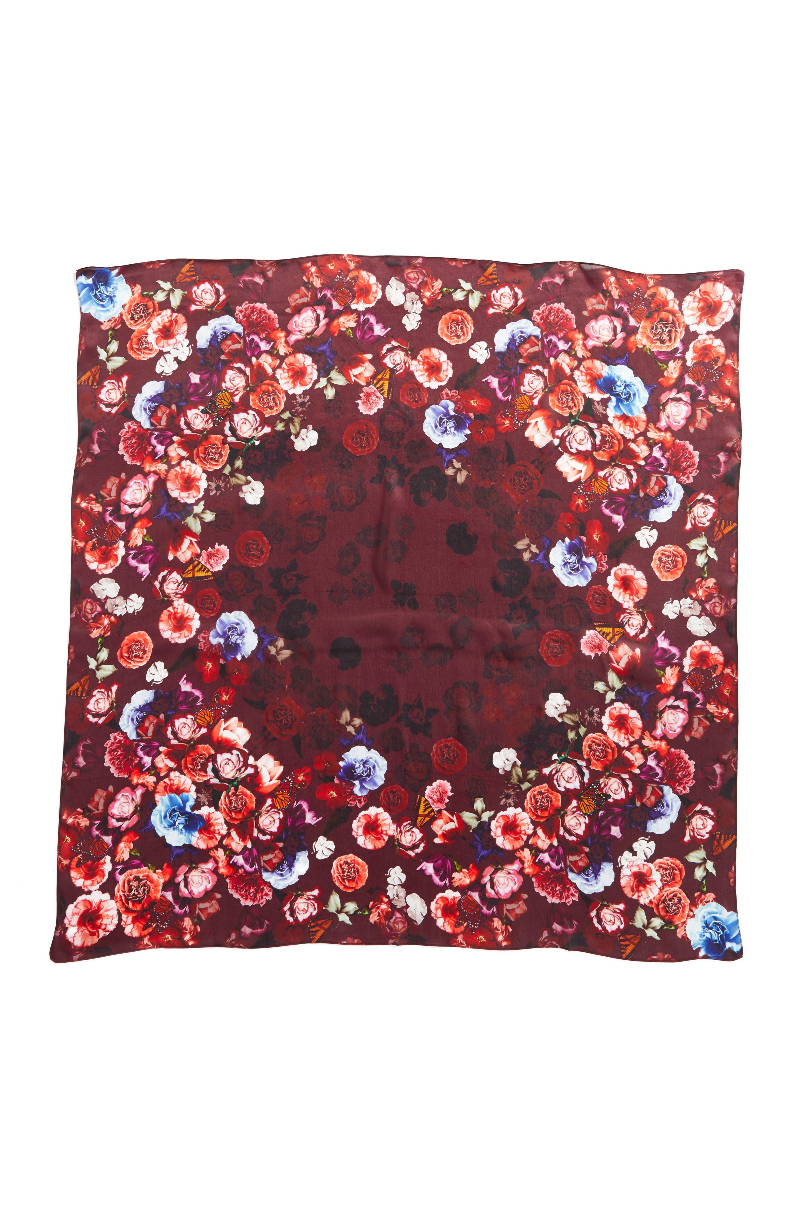 Floral Gem Square Silk Scarf,                             Alternate thumbnail 3, color,                             001