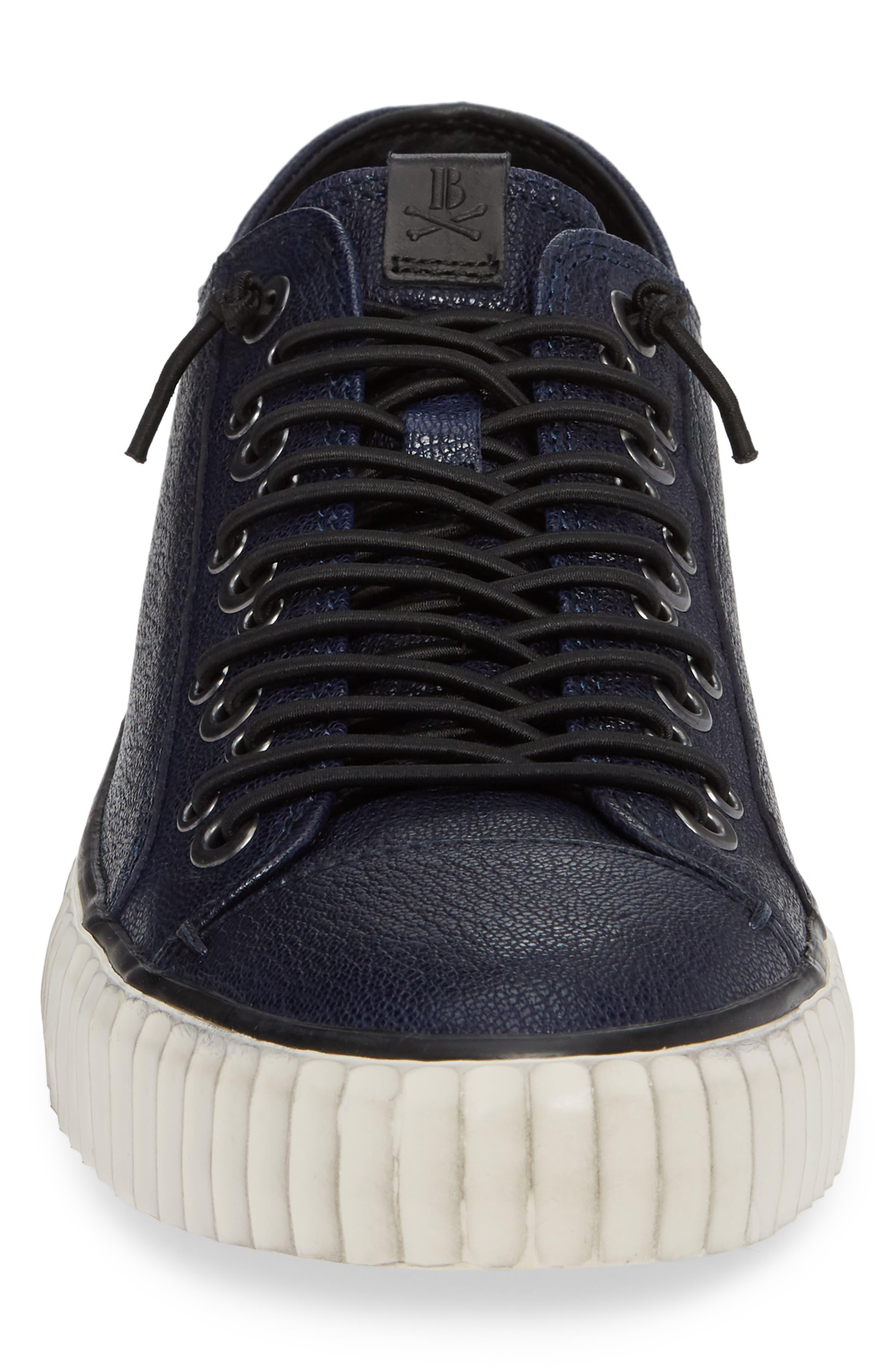 John Varvatos Star USA Bootleg Low Top Sneaker,                             Alternate thumbnail 4, color,                             BLUE LEATHER