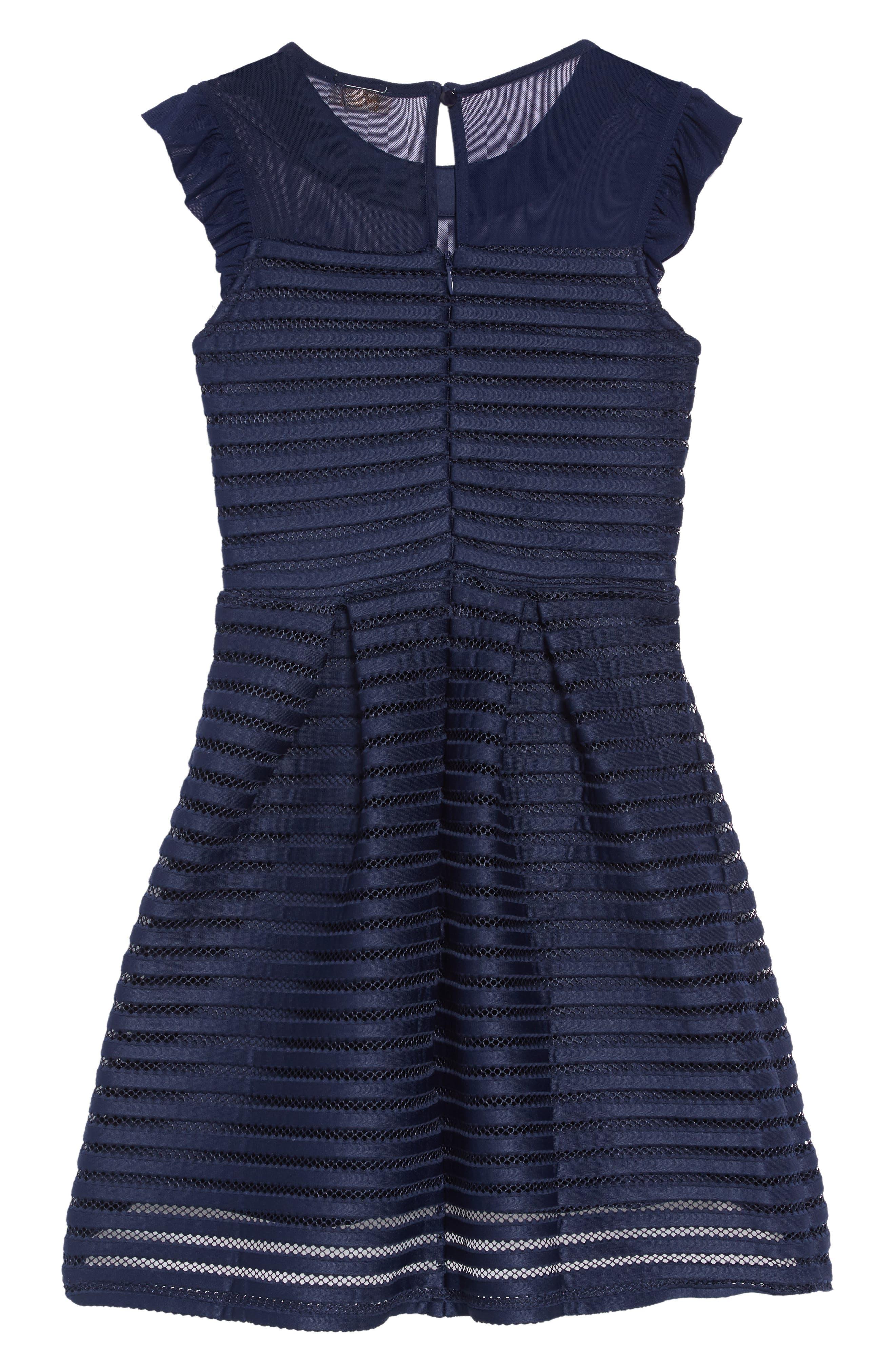 Mesh Stripe Dress,                             Alternate thumbnail 2, color,                             NAVY