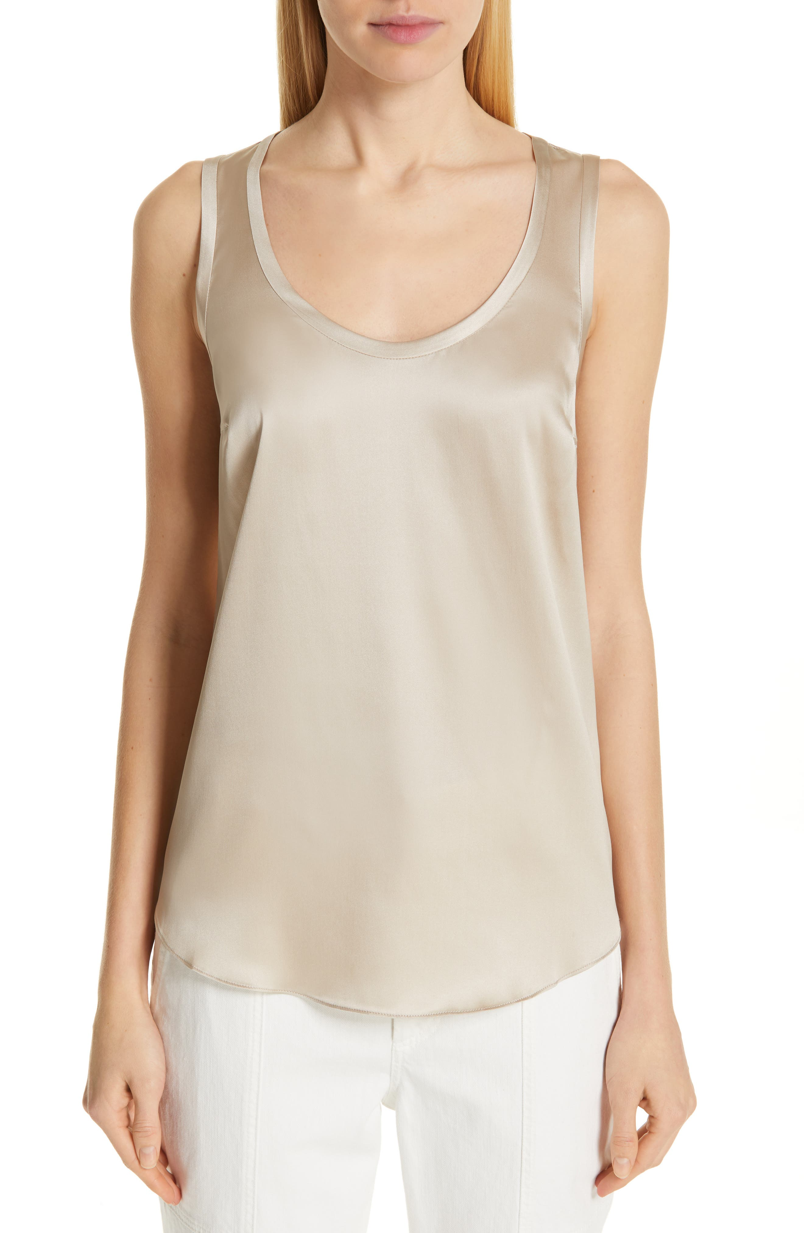 Reversible Stretch Silk Tank, Main, color, SAND
