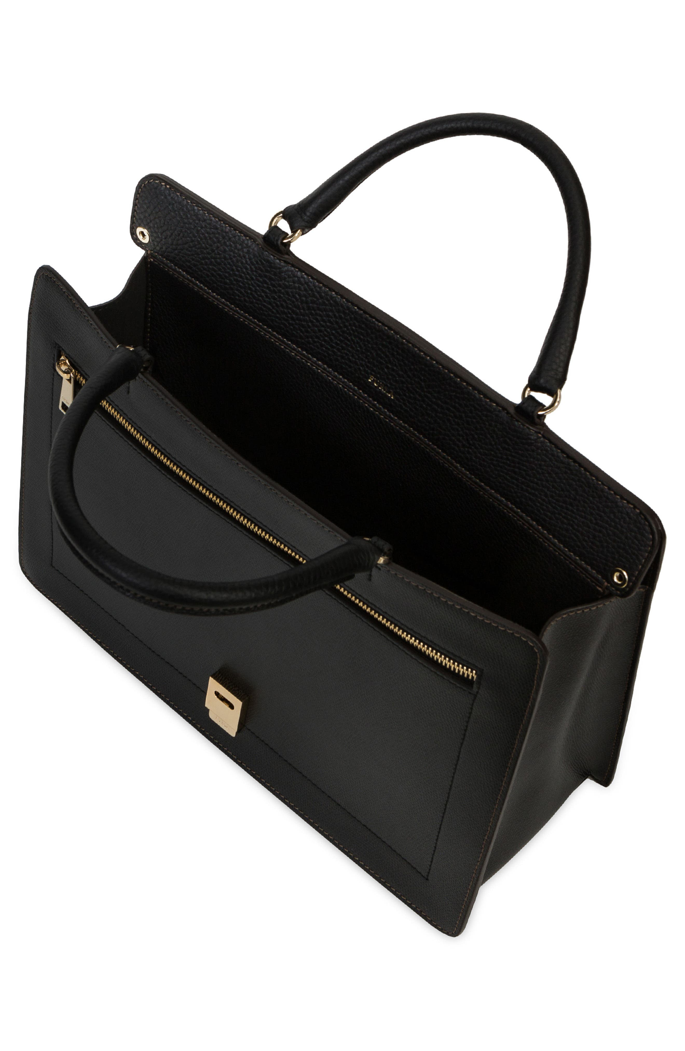 Small Like Leather Top Handle Convertible Satchel,                             Alternate thumbnail 4, color,                             001