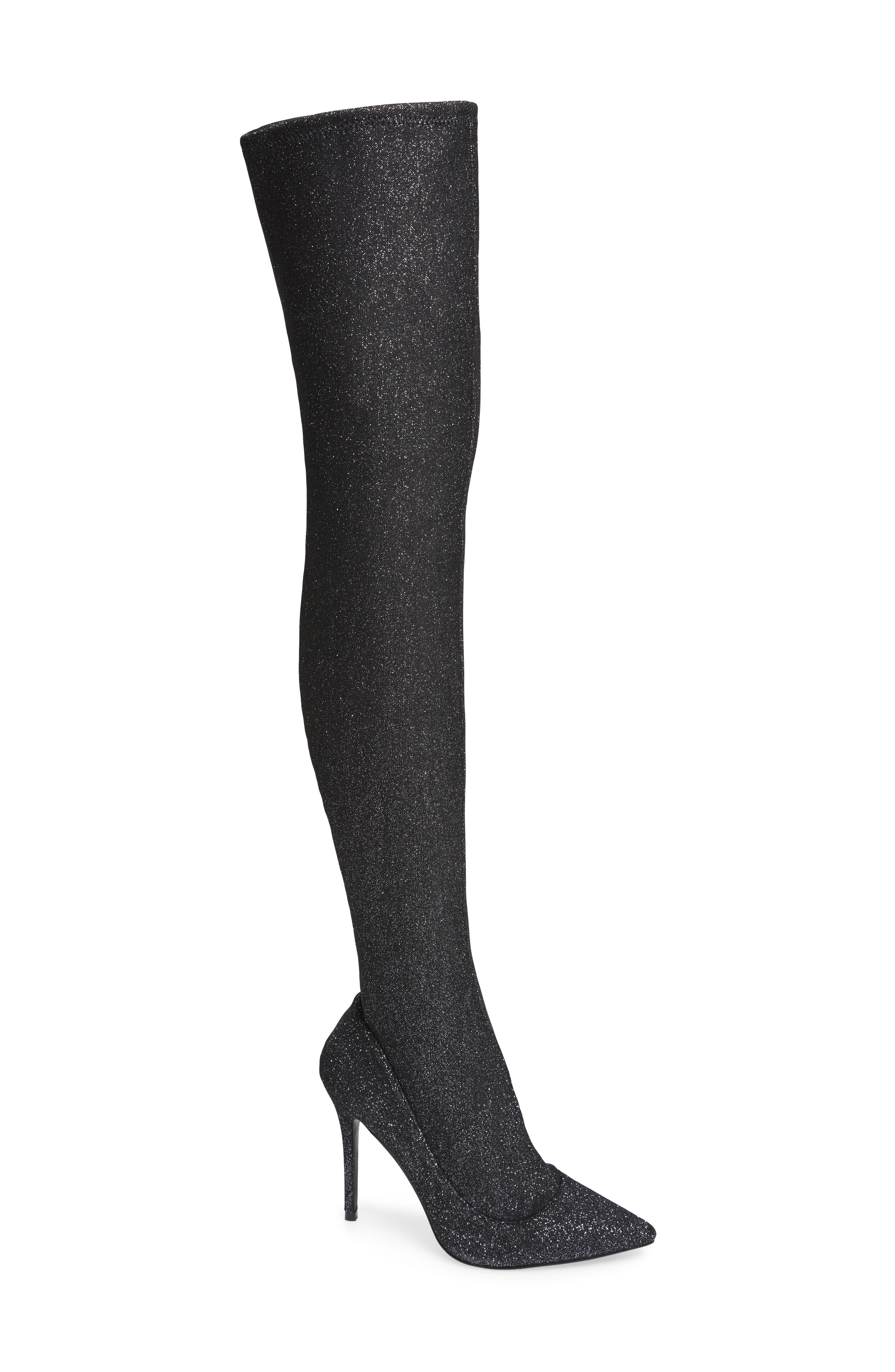 Bellini Stiletto Over the Knee Boot,                             Main thumbnail 1, color,                             SILVER