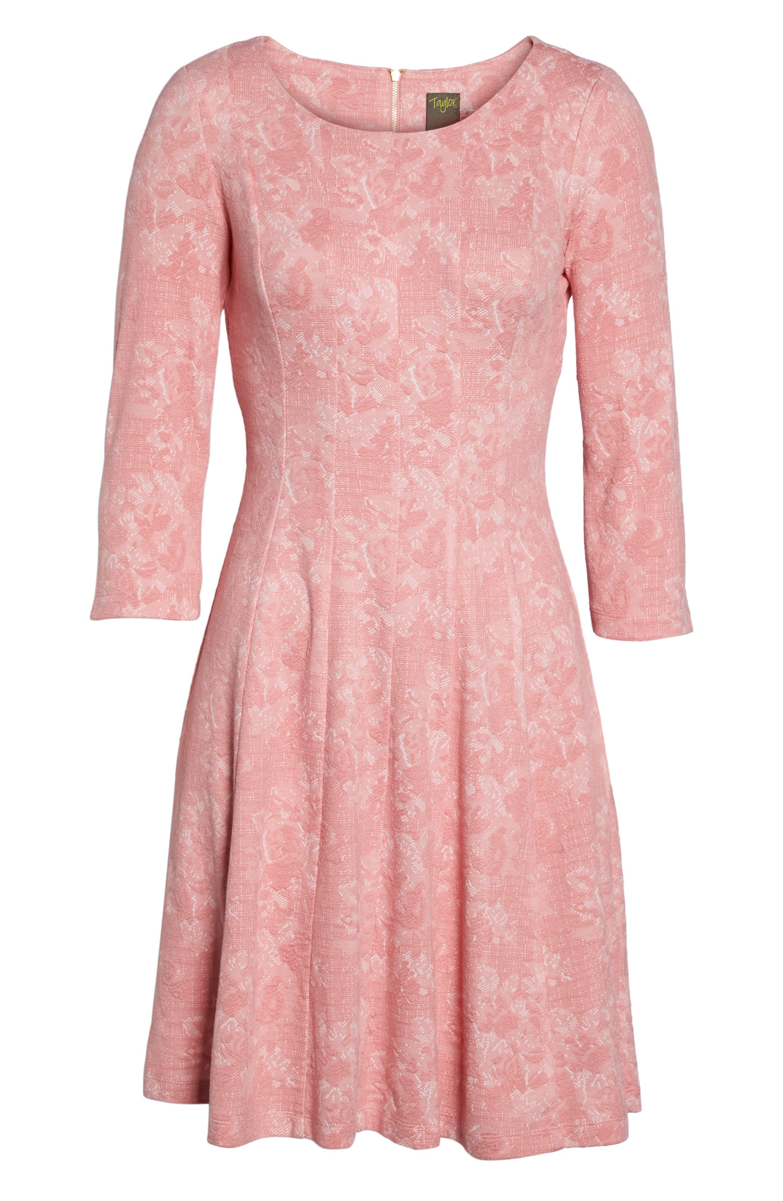 Jacquard Knit Fit & Flare Dress,                             Alternate thumbnail 6, color,                             651