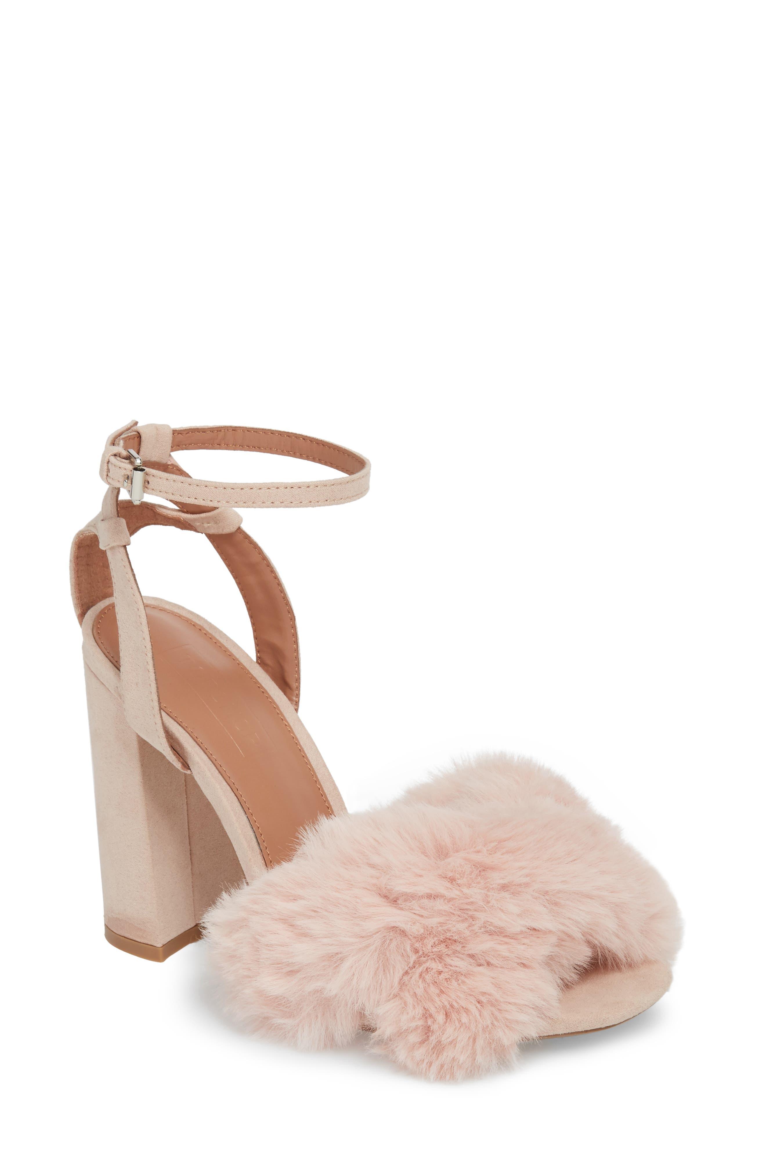 Sassy Faux Fur Sandal,                             Main thumbnail 3, color,