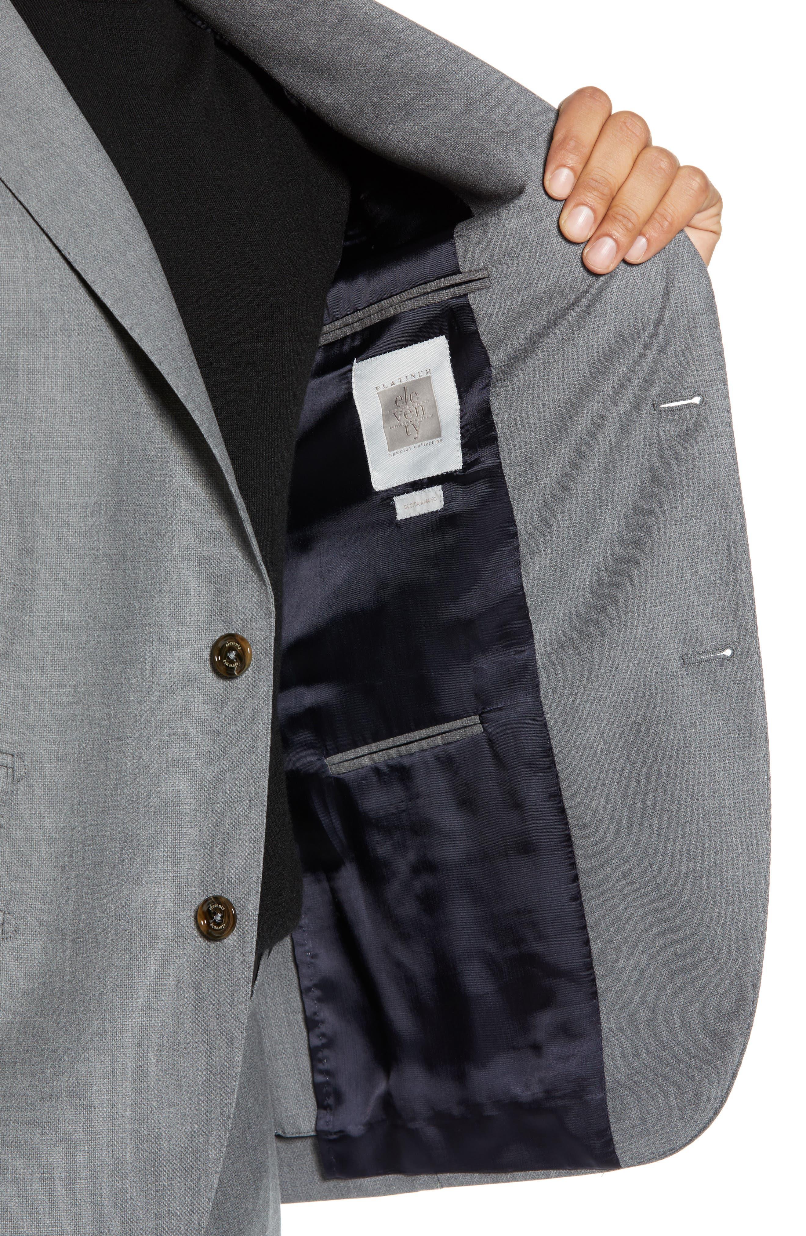 Trim Fit Wool Suit,                             Alternate thumbnail 4, color,                             LIGHT GREY