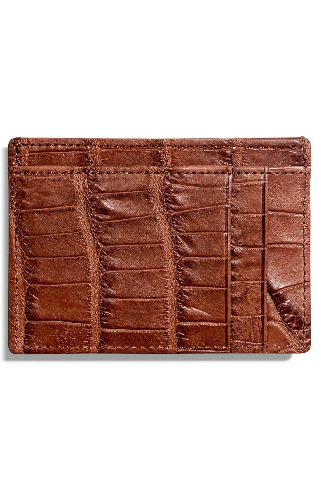 Alligator Leather Card Case,                             Main thumbnail 2, color,