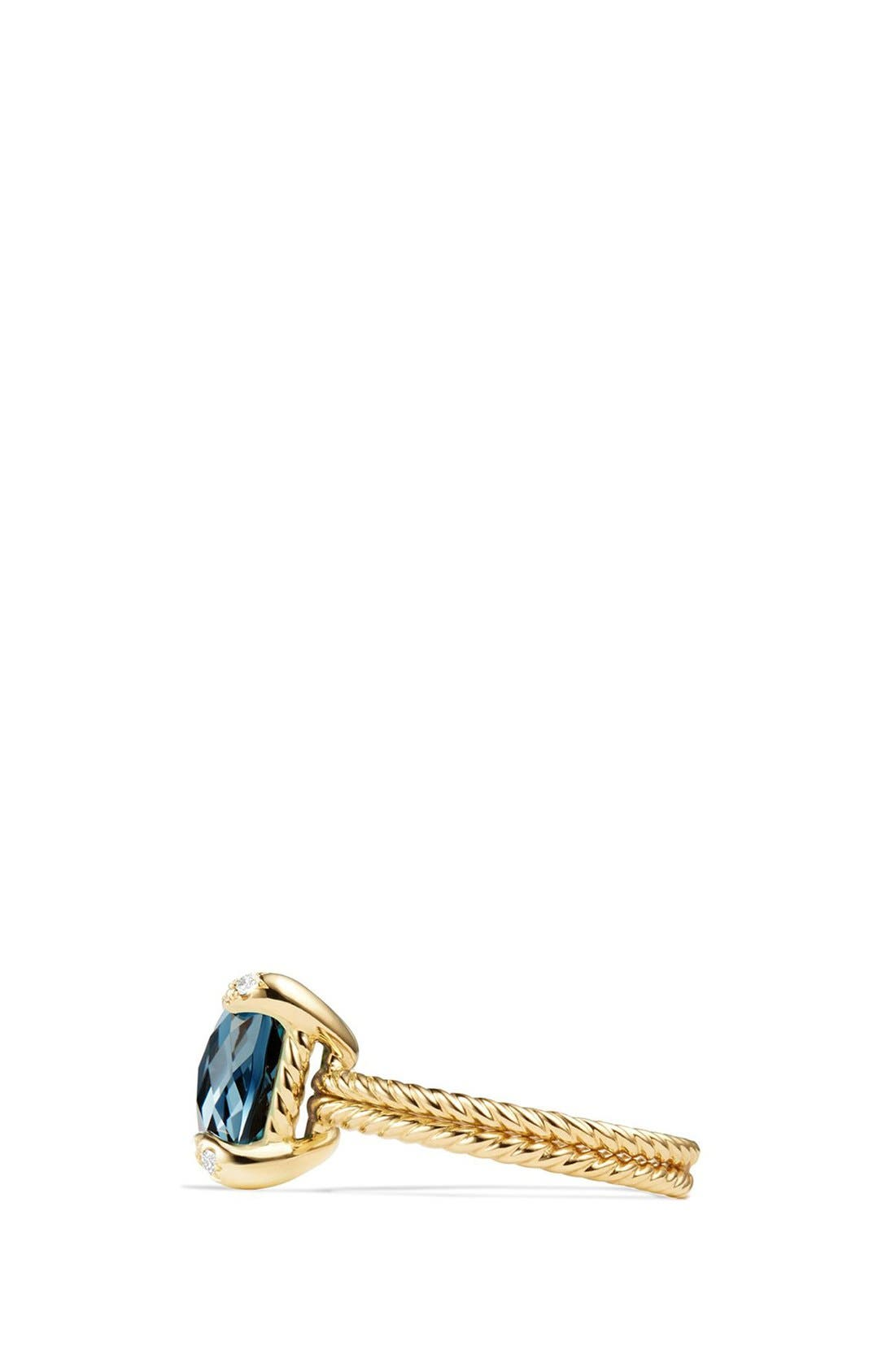 Châtelaine Ring with Hampton Blue Topaz and Diamonds in 18K Gold,                             Alternate thumbnail 3, color,                             HAMPTON BLUE TOPAZ