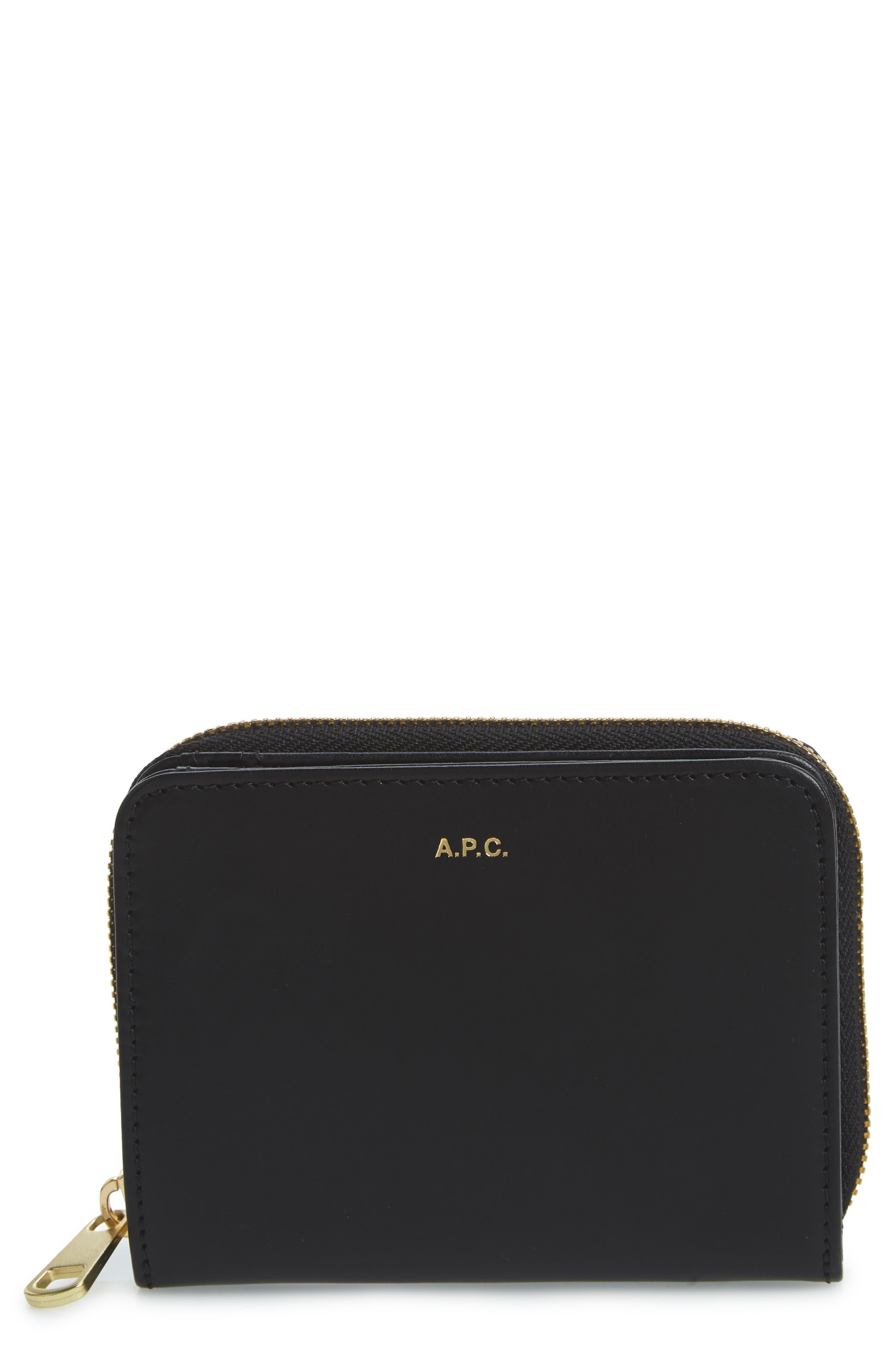 Compact Leather Wallet,                             Main thumbnail 1, color,                             NOIR