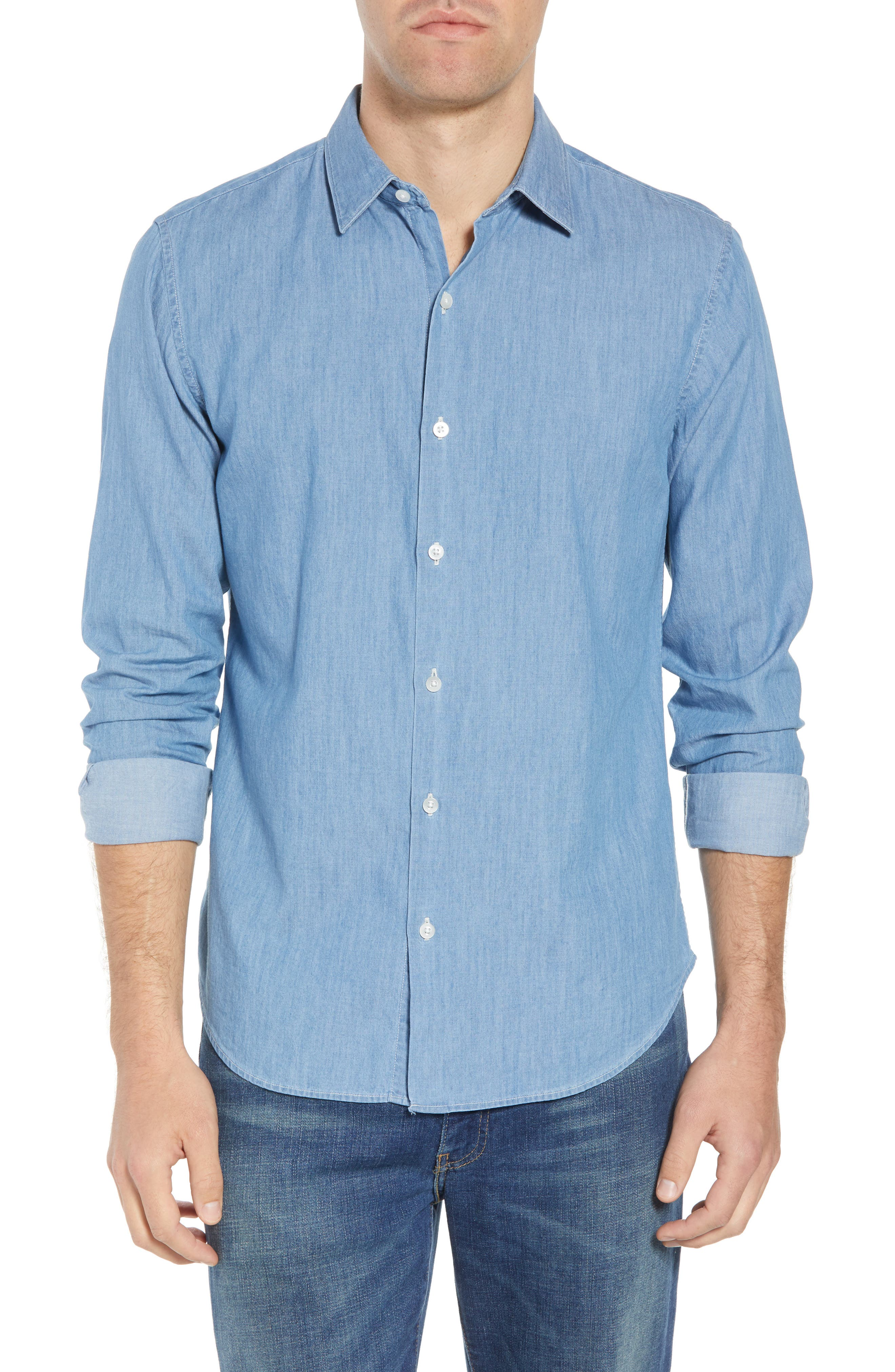 Unbutton Down 2.0 Slim Fit Chambray Sport Shirt,                             Main thumbnail 1, color,                             SOLID CHAMBRAY