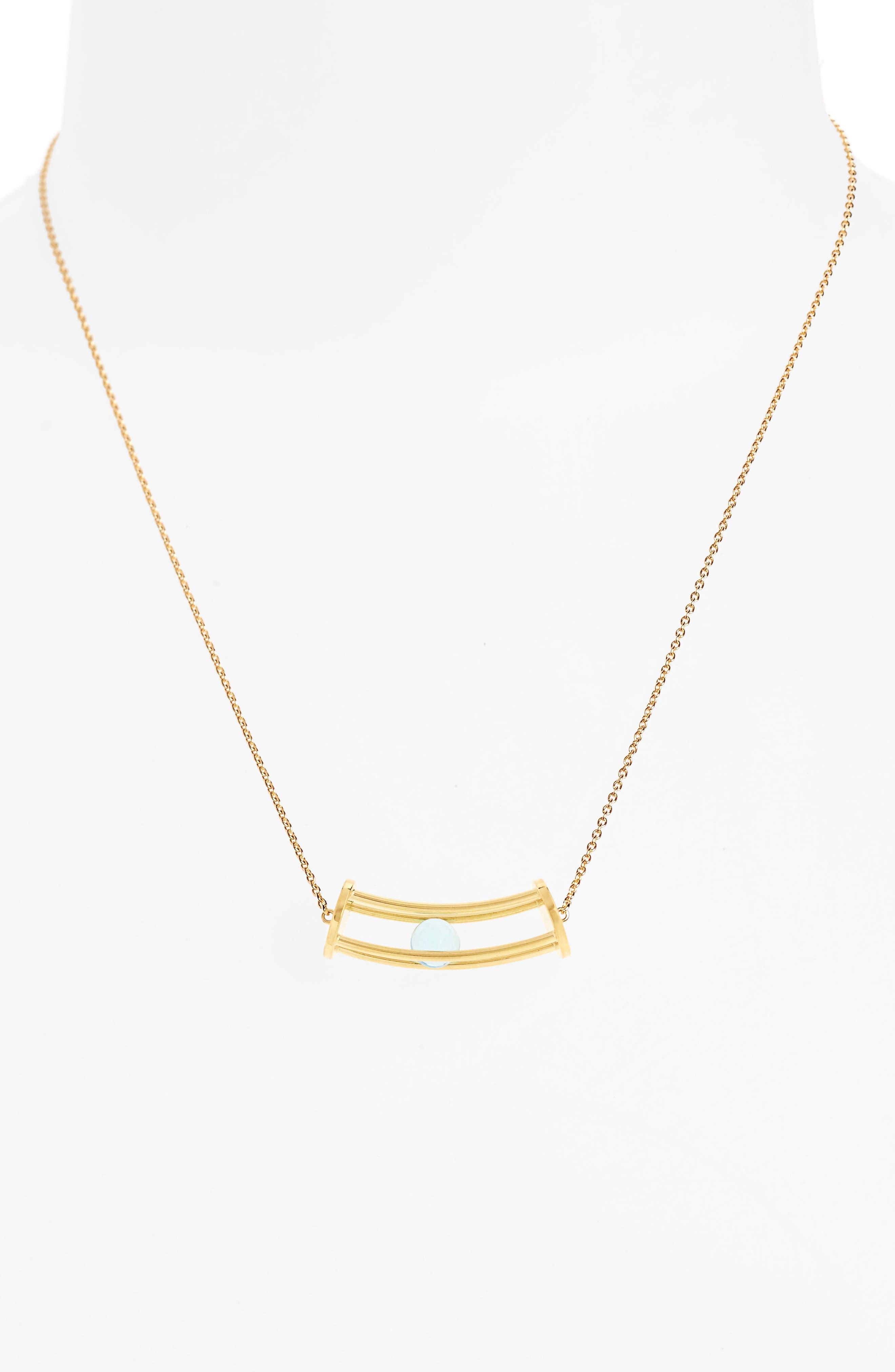 Simple Curve Blue Topaz Pendant Necklace,                             Alternate thumbnail 2, color,                             400