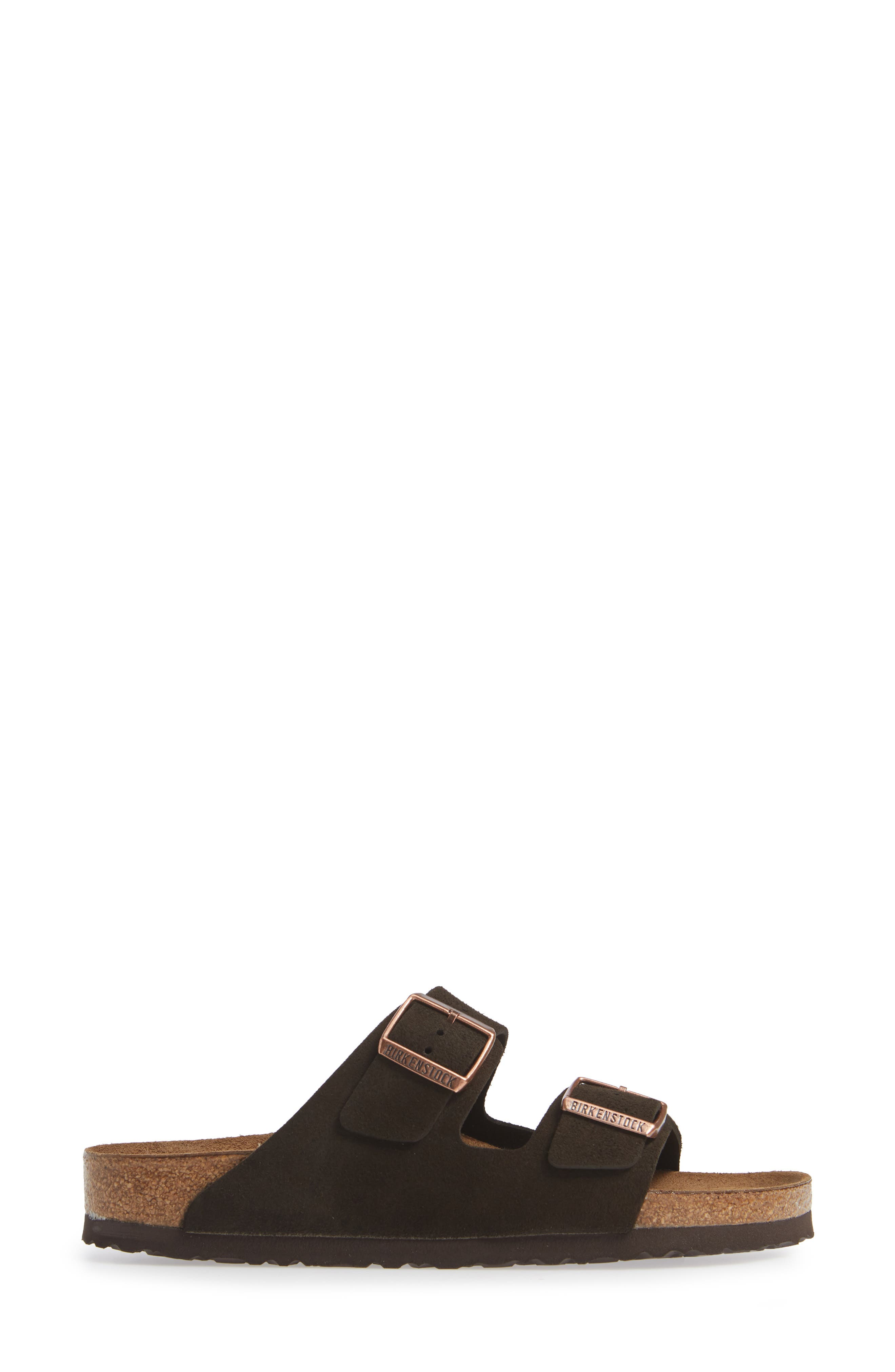 'Arizona' Soft Footbed Suede Sandal,                             Alternate thumbnail 3, color,                             MOCHA SUEDE