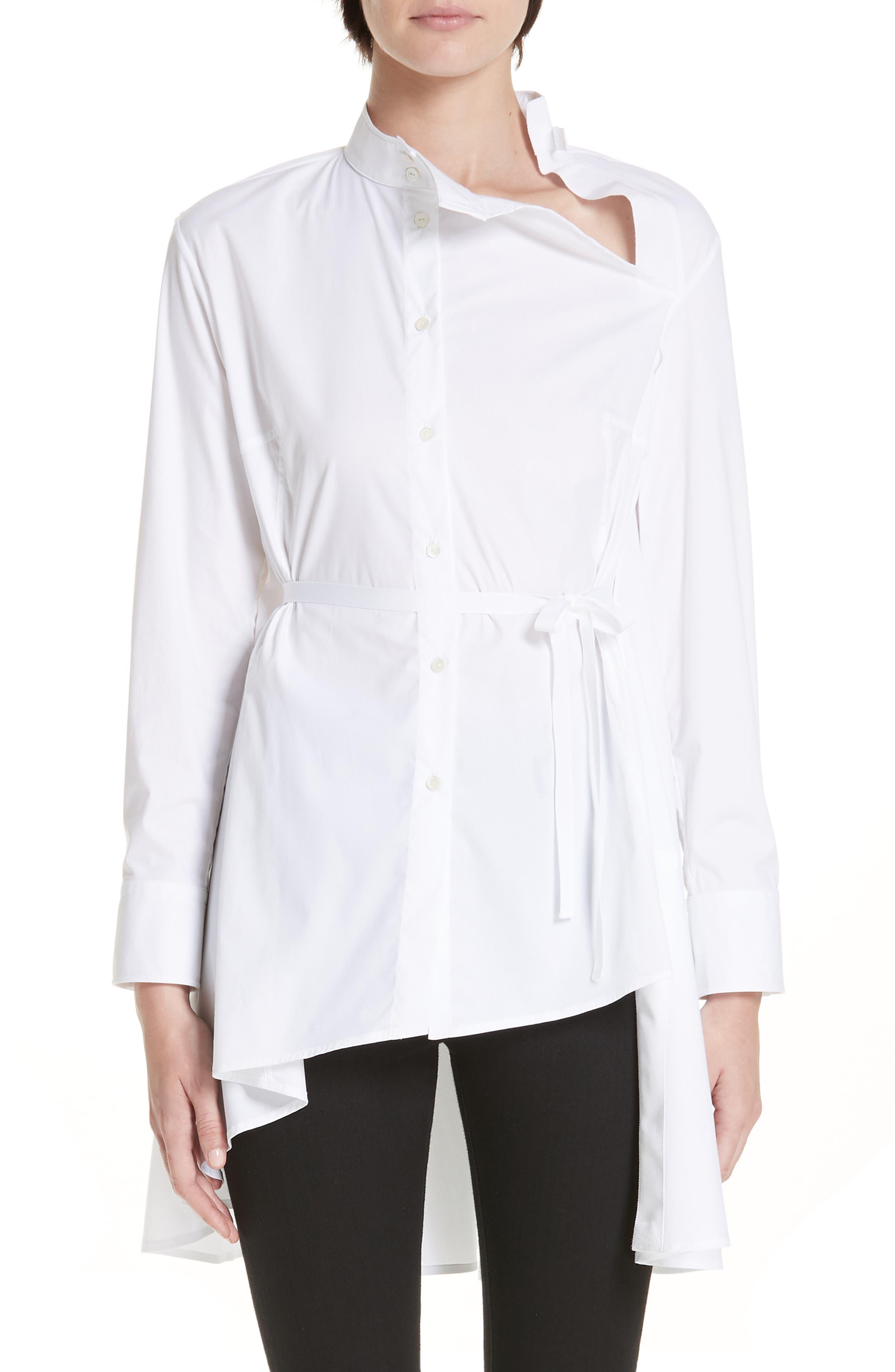 PALMER//HARDING Split Shirt in White Poplin