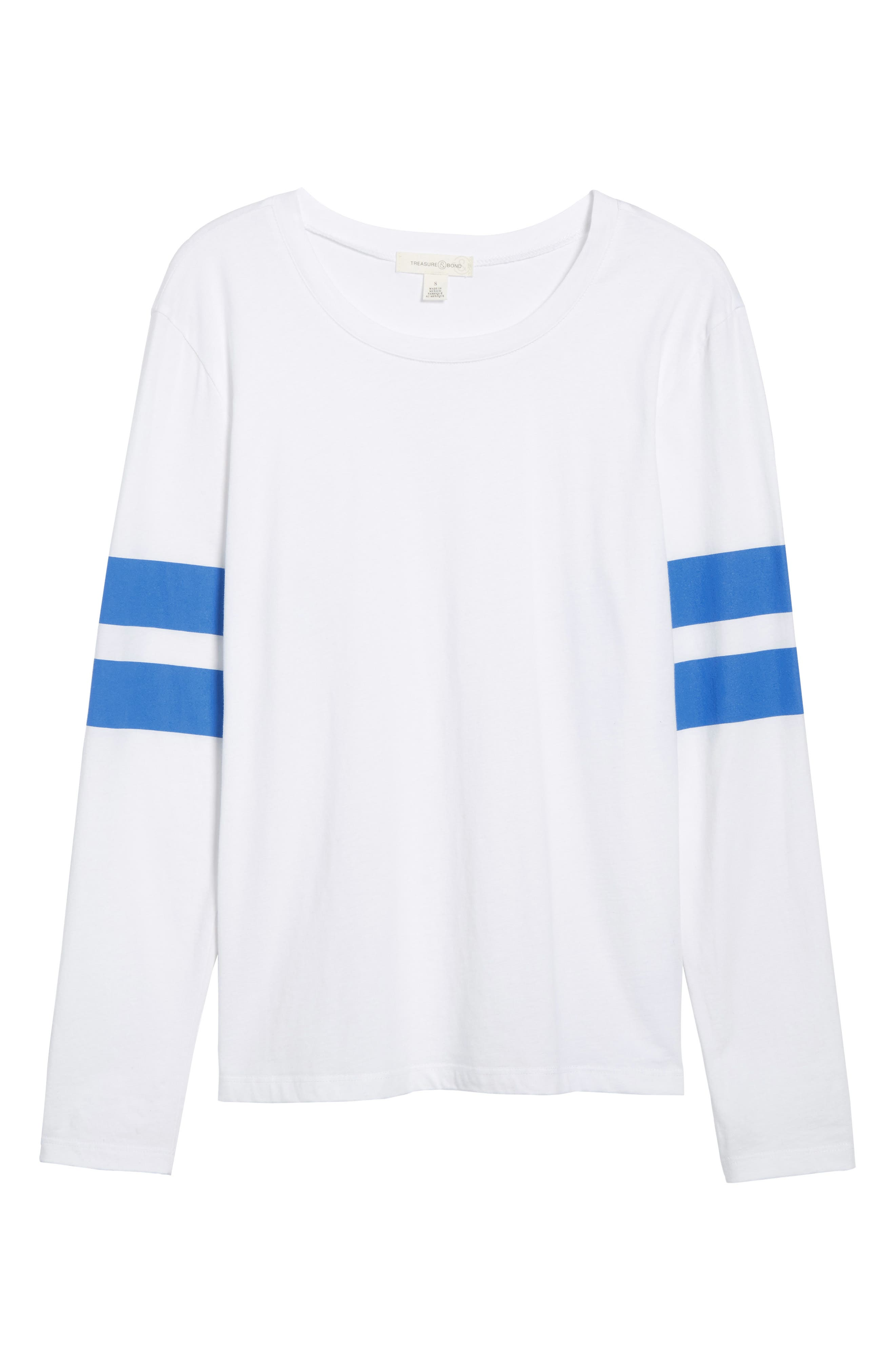 Varsity Stripe Cotton Tee,                             Alternate thumbnail 111, color,