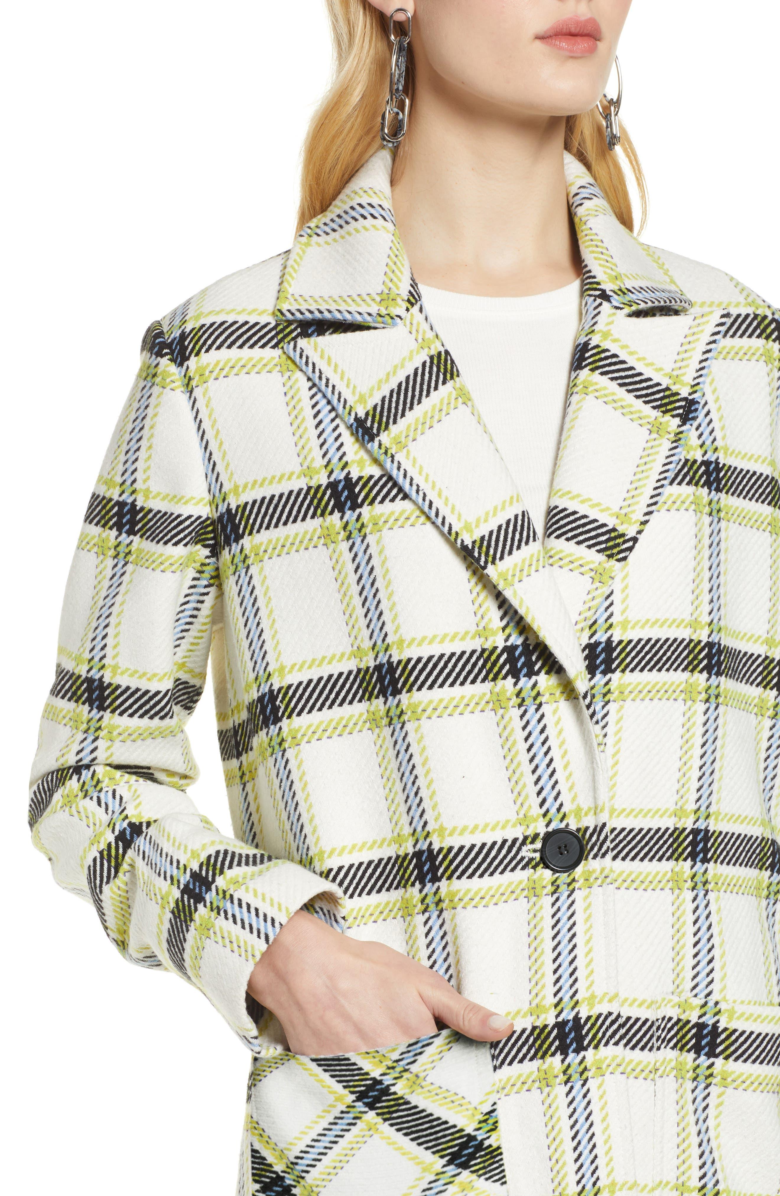 Plaid Coat,                             Alternate thumbnail 4, color,                             IVORY MULTI CHECK