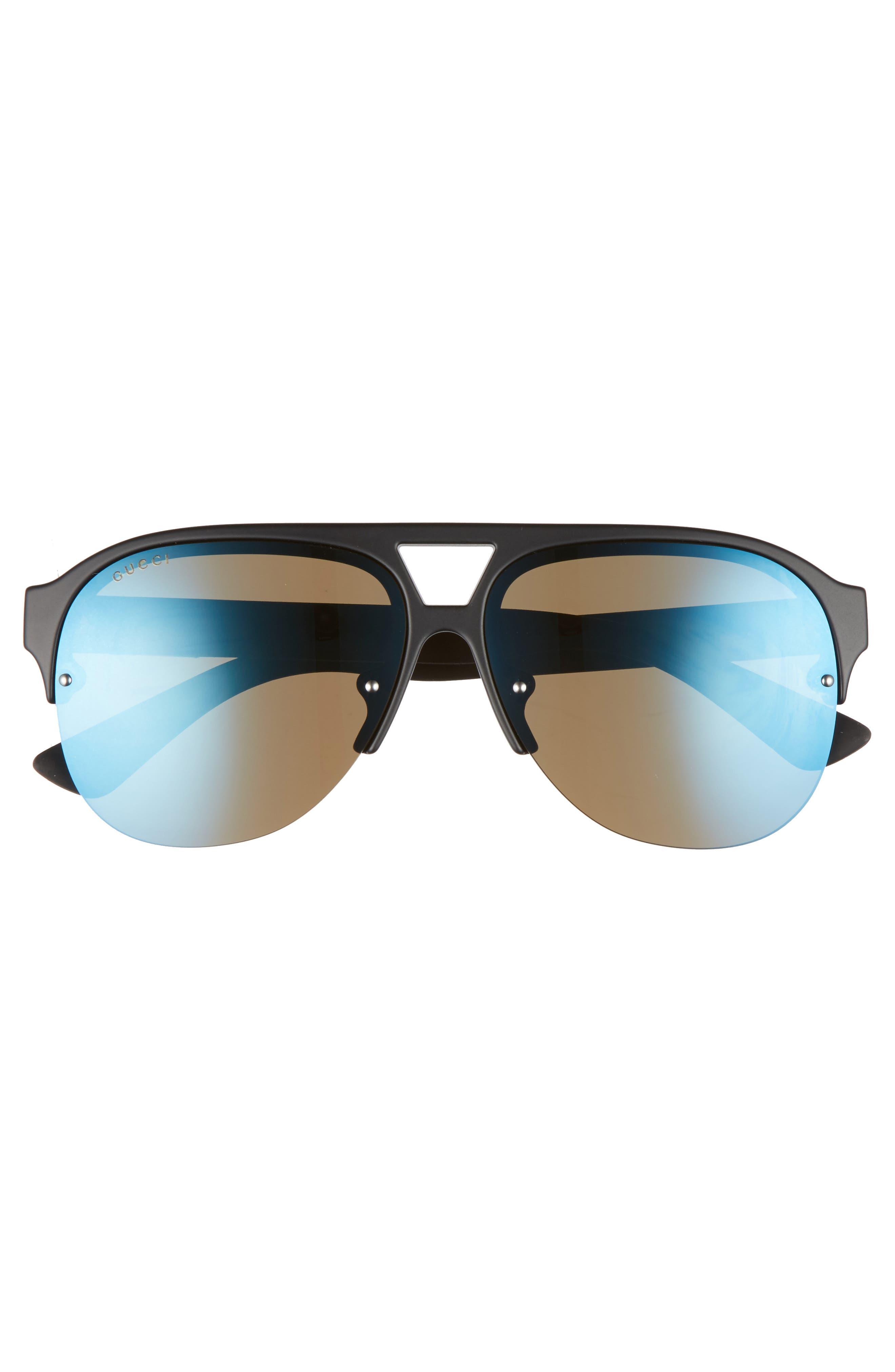 59mm Semi Rimless Sunglasses,                             Alternate thumbnail 2, color,                             MATTE BLACK