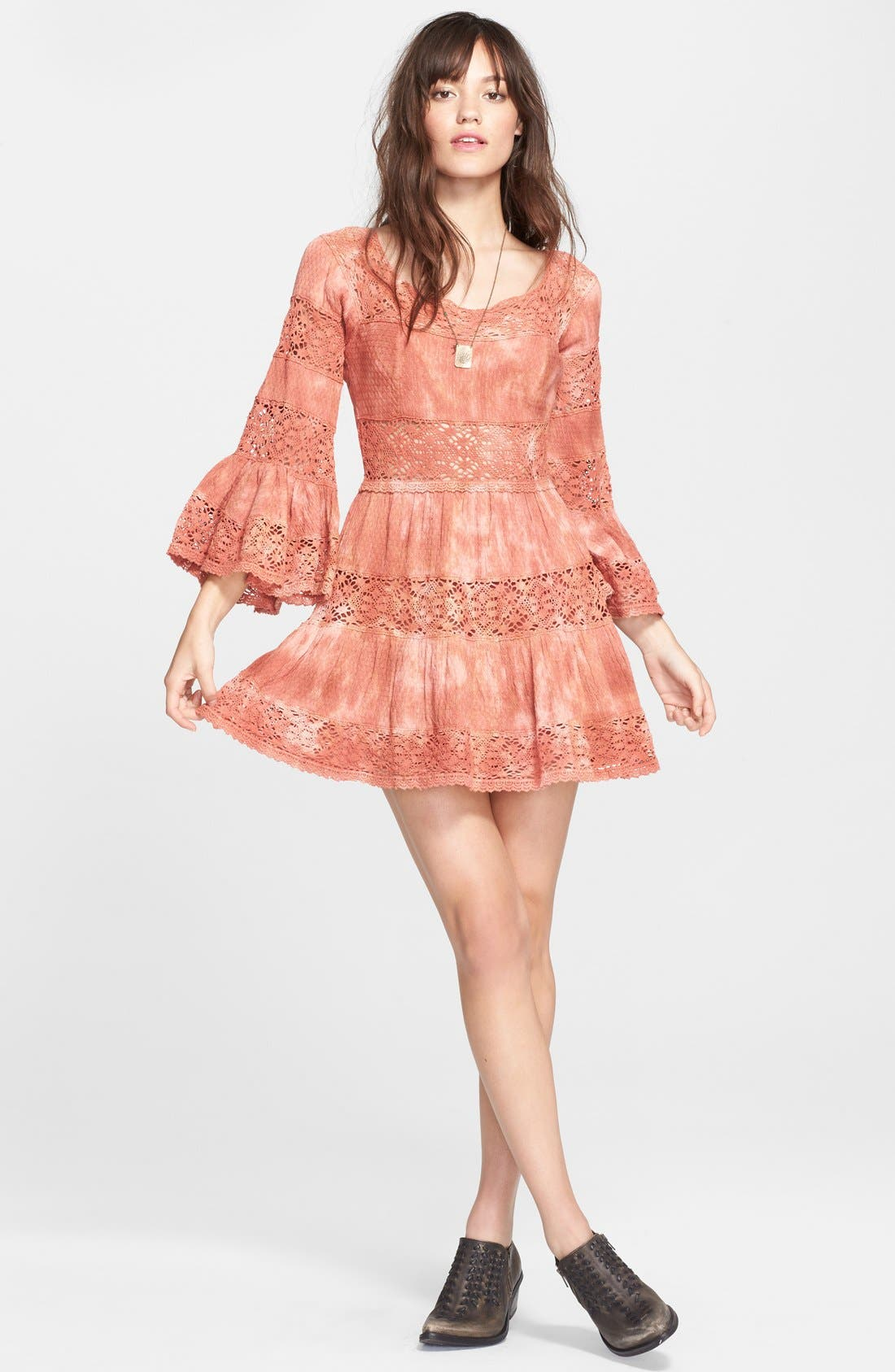 FREE PEOPLE,                             'Pippa' Gauze Fit & Flare Dress,                             Alternate thumbnail 4, color,                             800