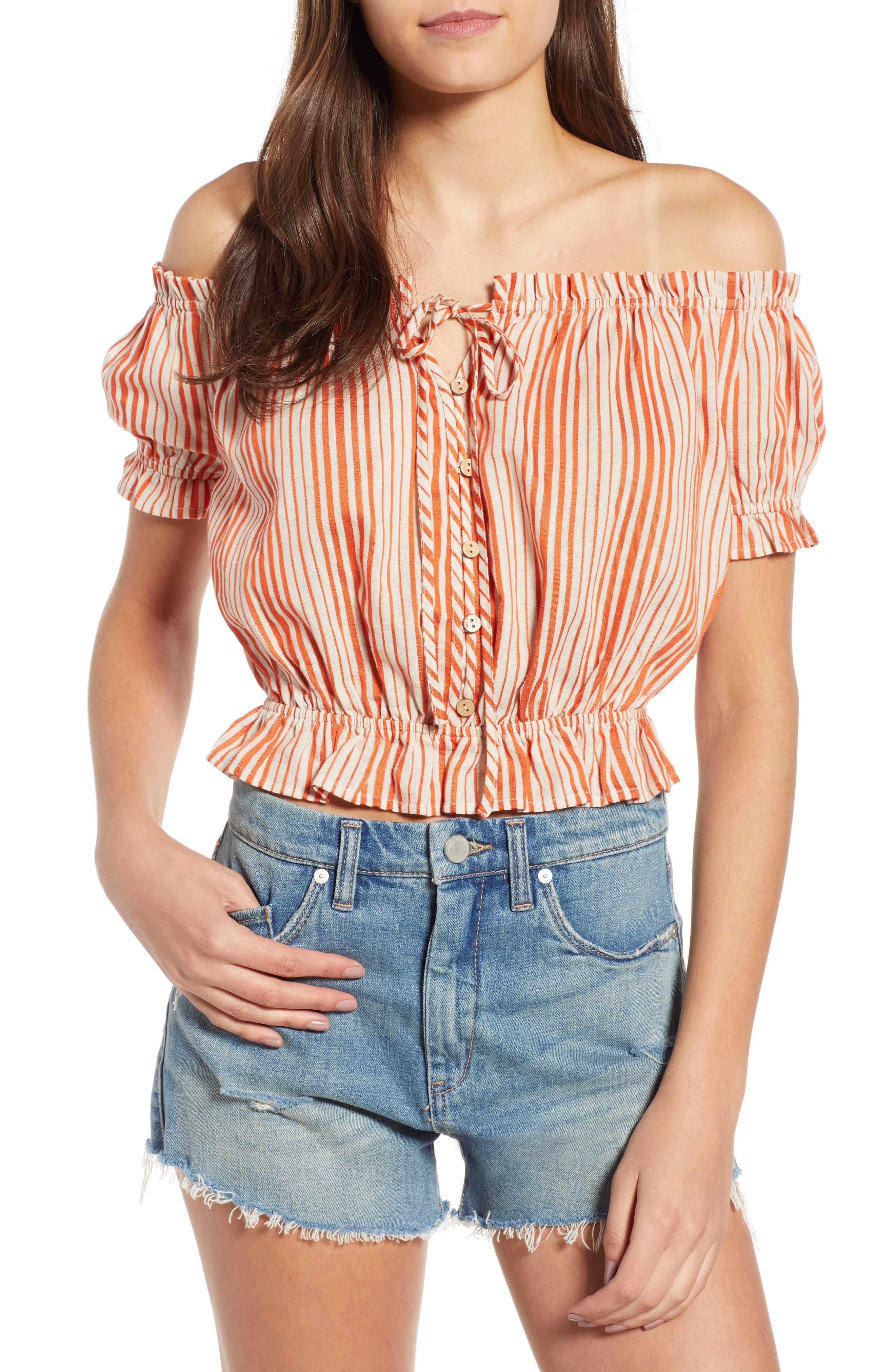 Stripe Off the Shoulder Linen & Cotton Top,                             Main thumbnail 1, color,                             800