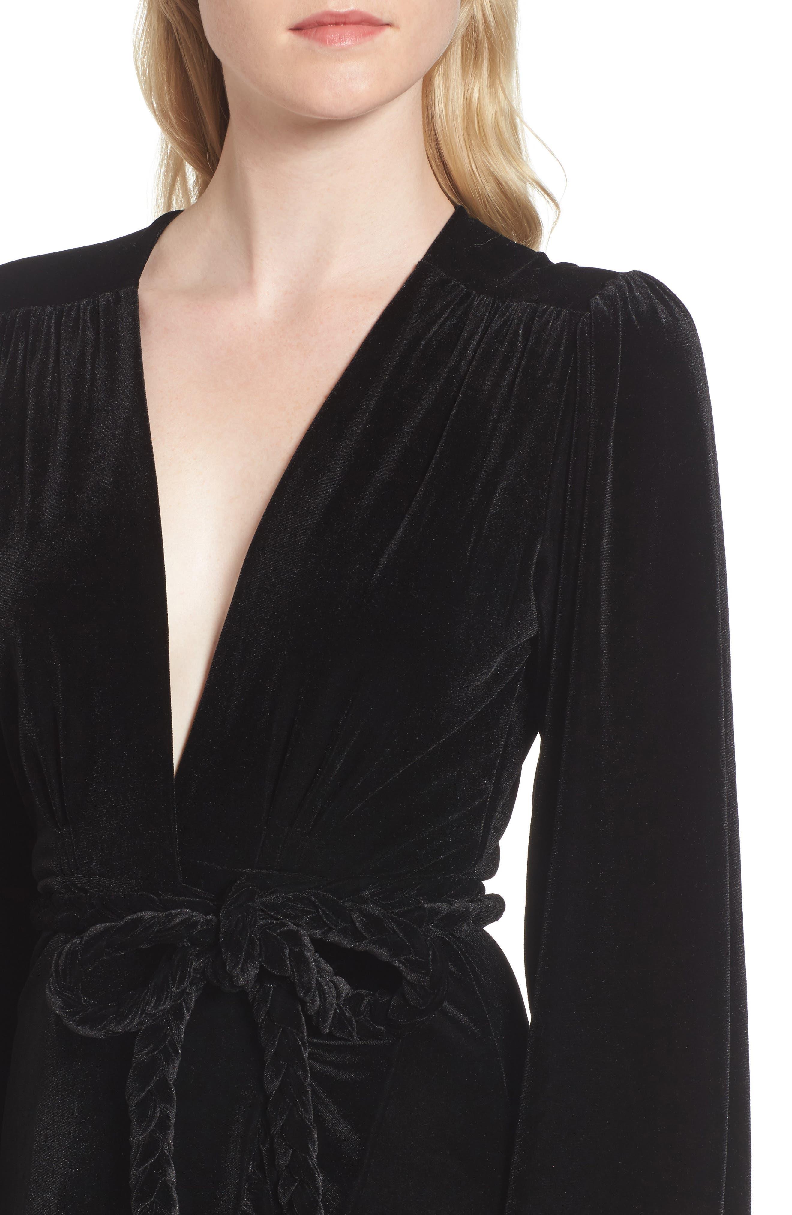 Agne Velvet Wrap Dress,                             Alternate thumbnail 4, color,                             013