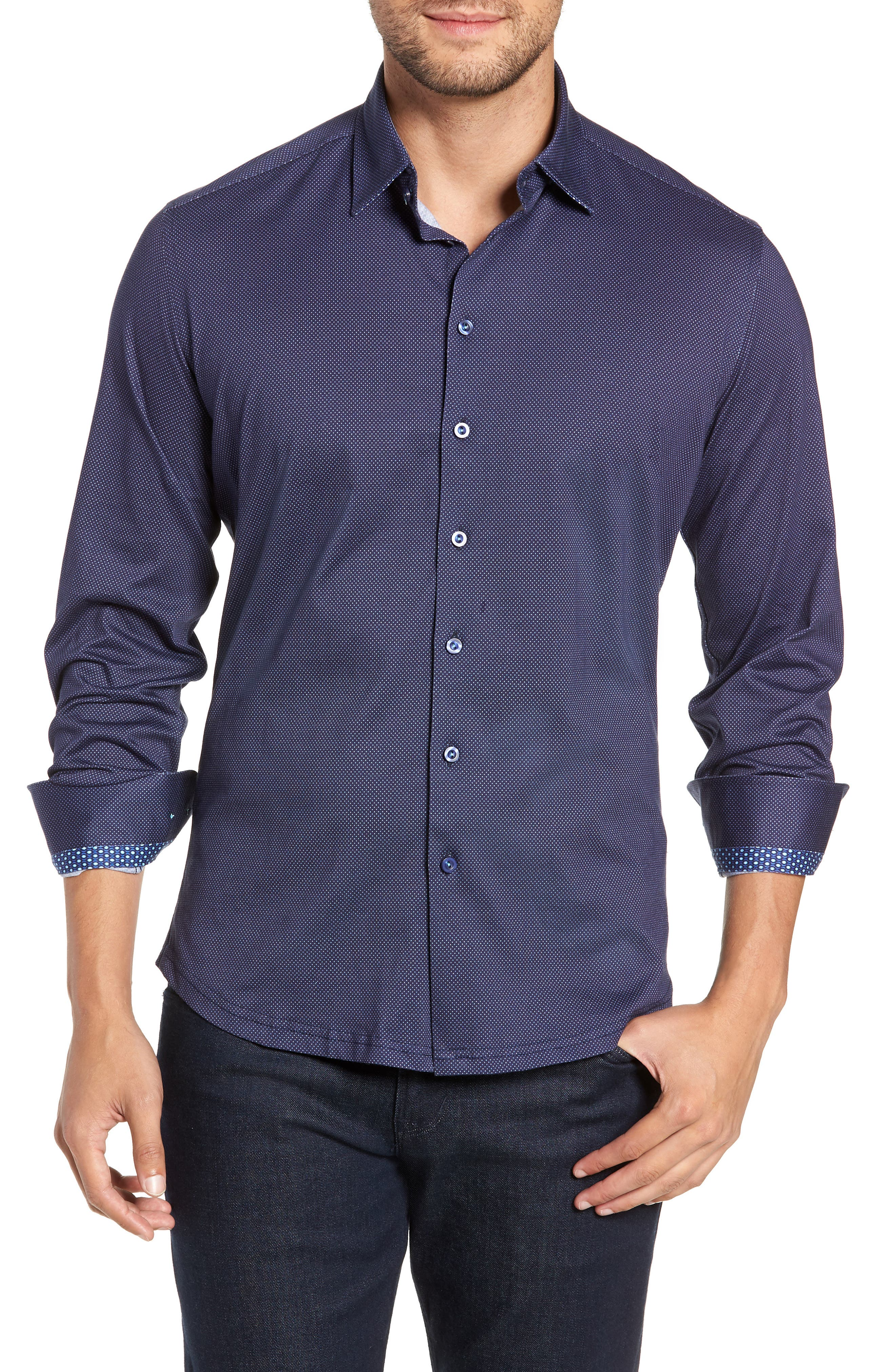Trim Fit Knit Sport Shirt,                             Main thumbnail 1, color,                             NAVY