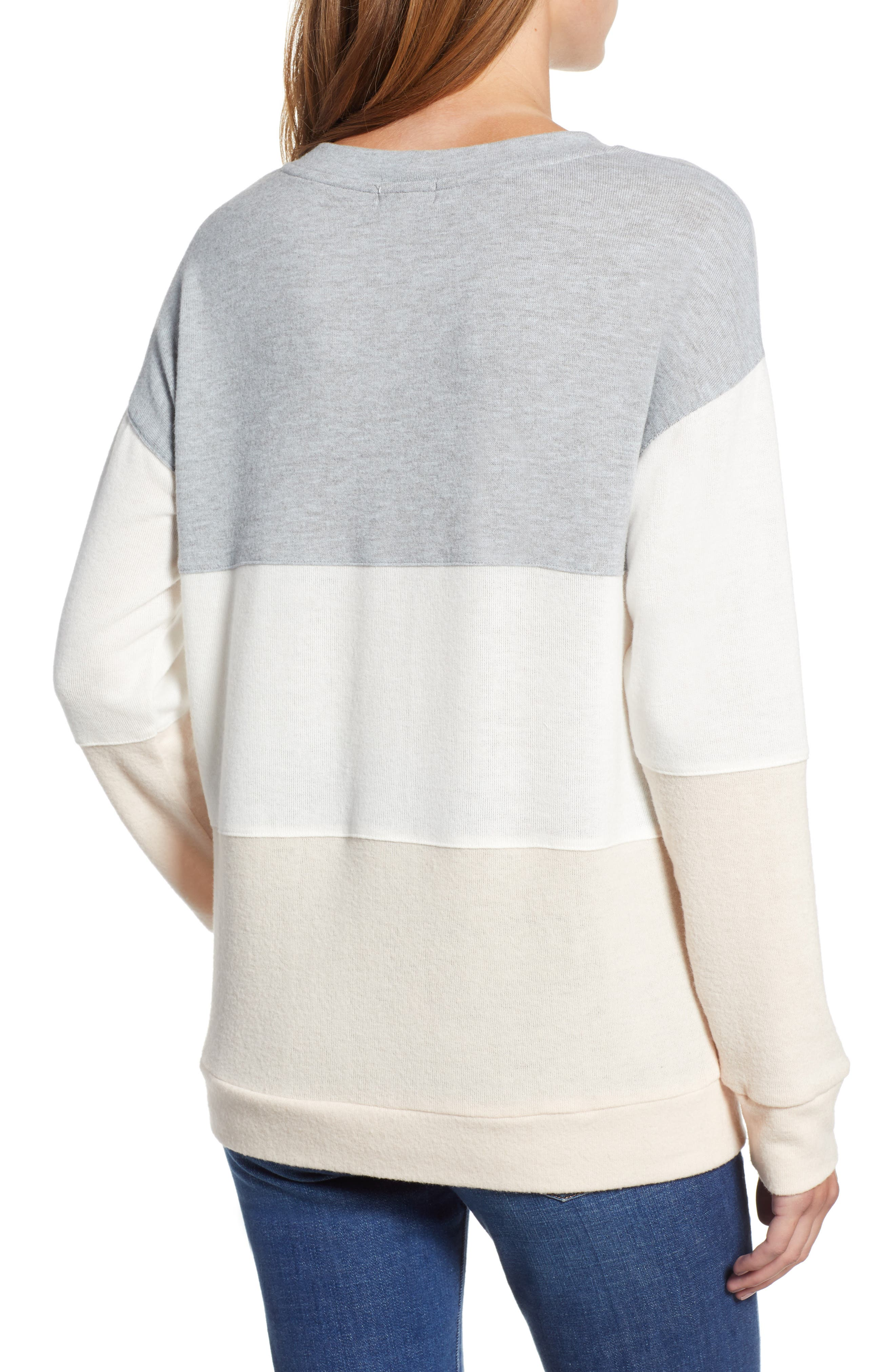 Colorblock Sweatshirt,                             Alternate thumbnail 2, color,                             GREY/ WHITE/ PINK