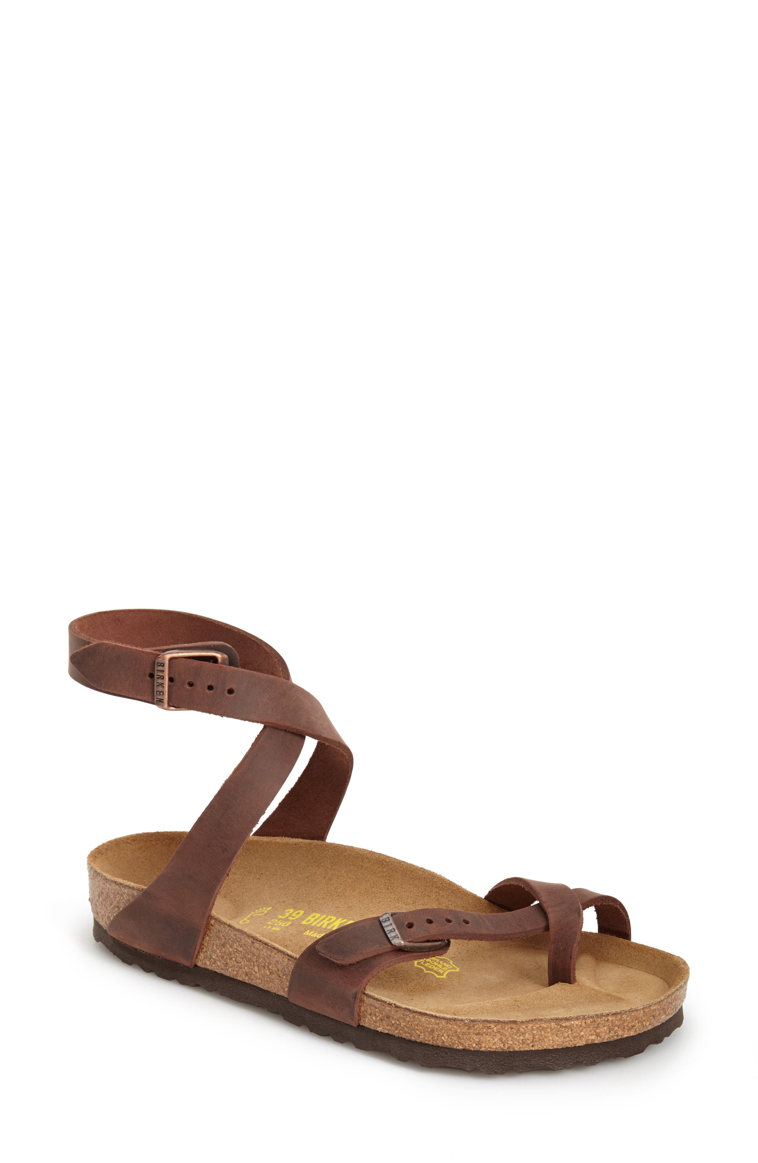 'Yara' Sandal,                             Alternate thumbnail 4, color,                             YARA HABANA OILED LEATHER