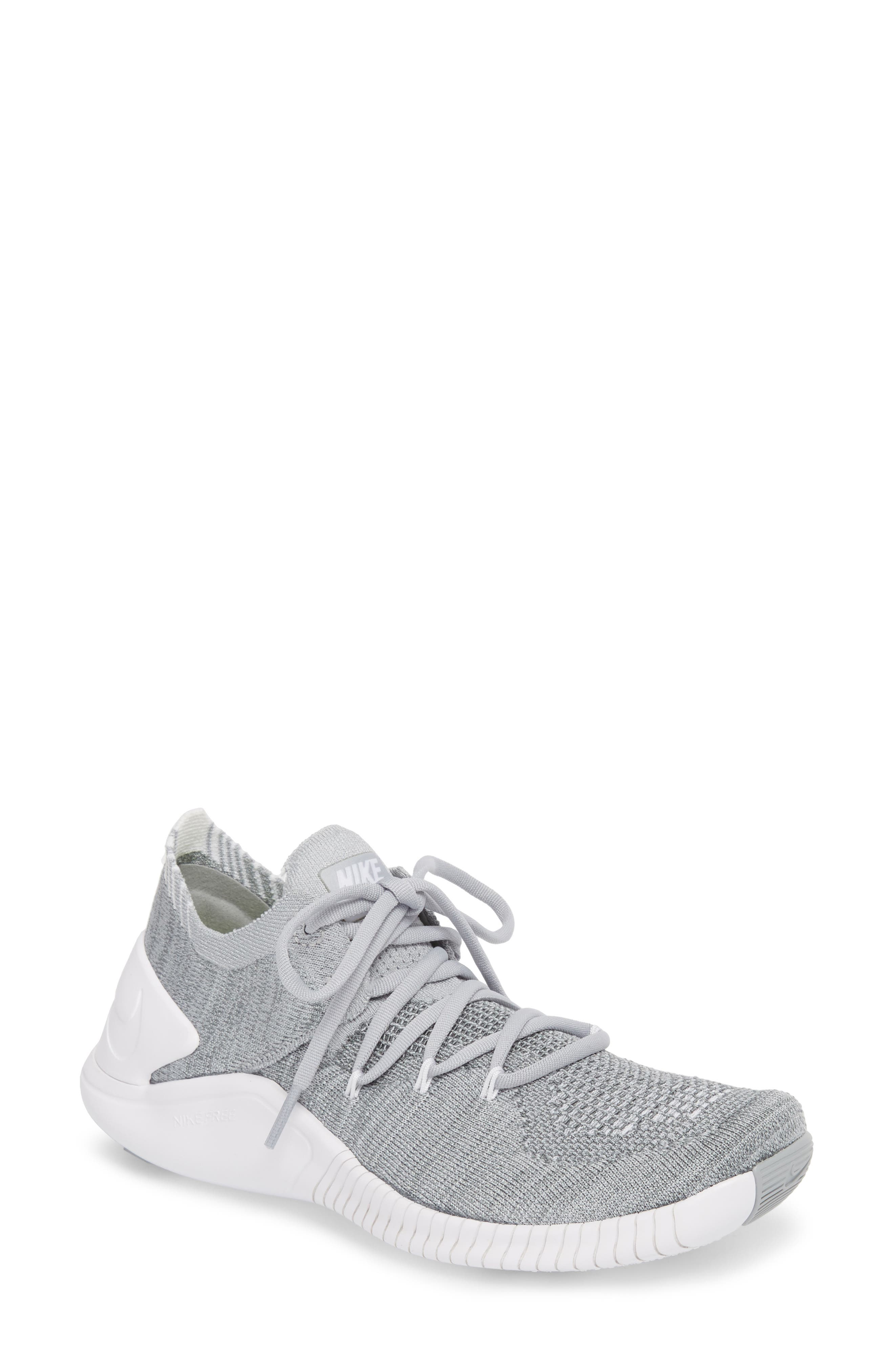Free TR Flyknit 3 Training Shoe,                         Main,                         color, WOLF GREY/ WHITE