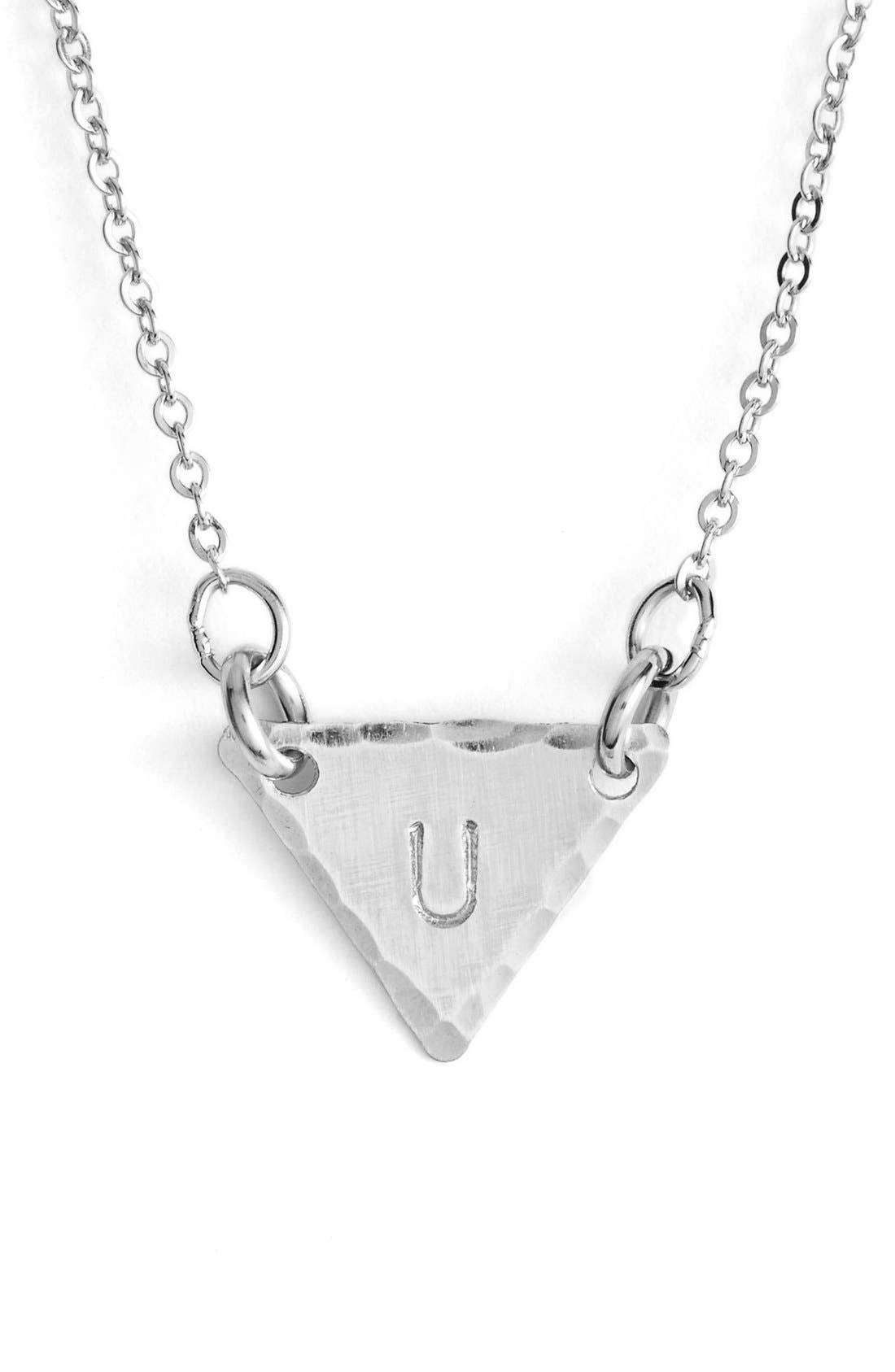 Sterling Silver Initial Mini Triangle Necklace,                             Main thumbnail 21, color,