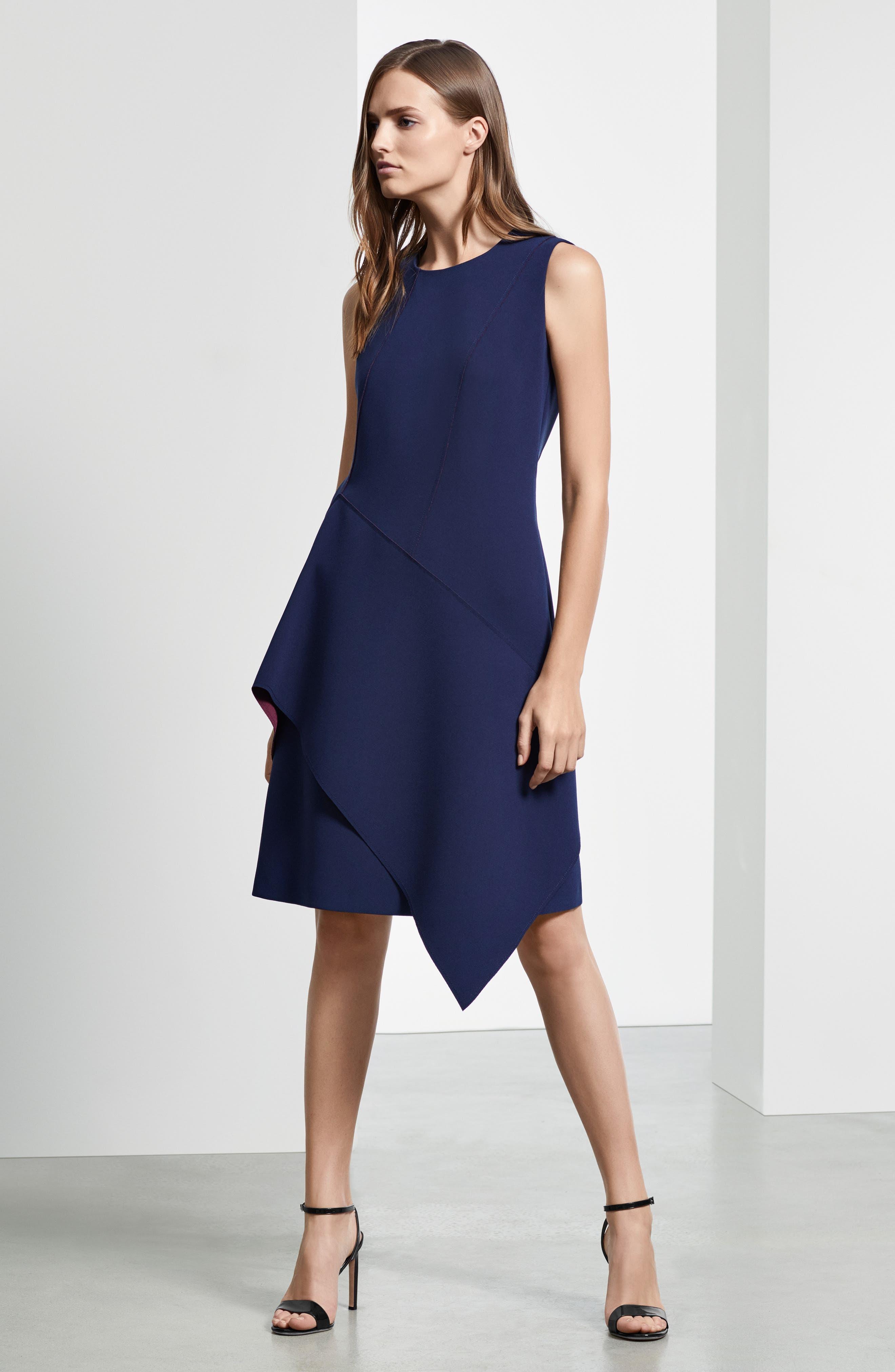 Delakety Asymmetrical A-Line Dress,                             Alternate thumbnail 10, color,                             DEEP BLUE FANTASY