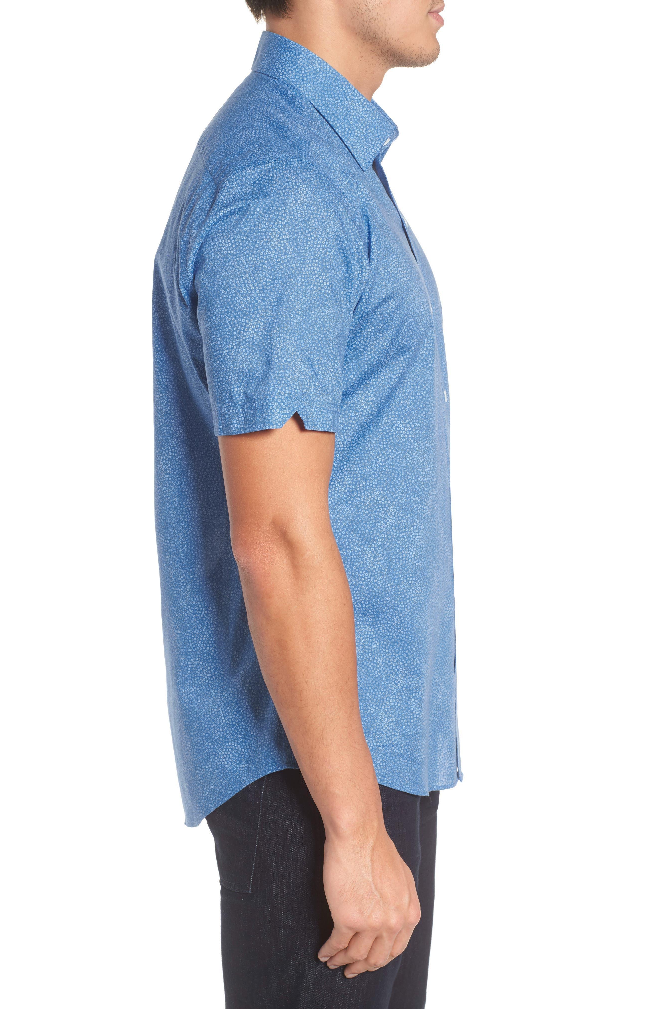 Siguenza Floral Short Sleeve Sport Shirt,                             Alternate thumbnail 3, color,                             400