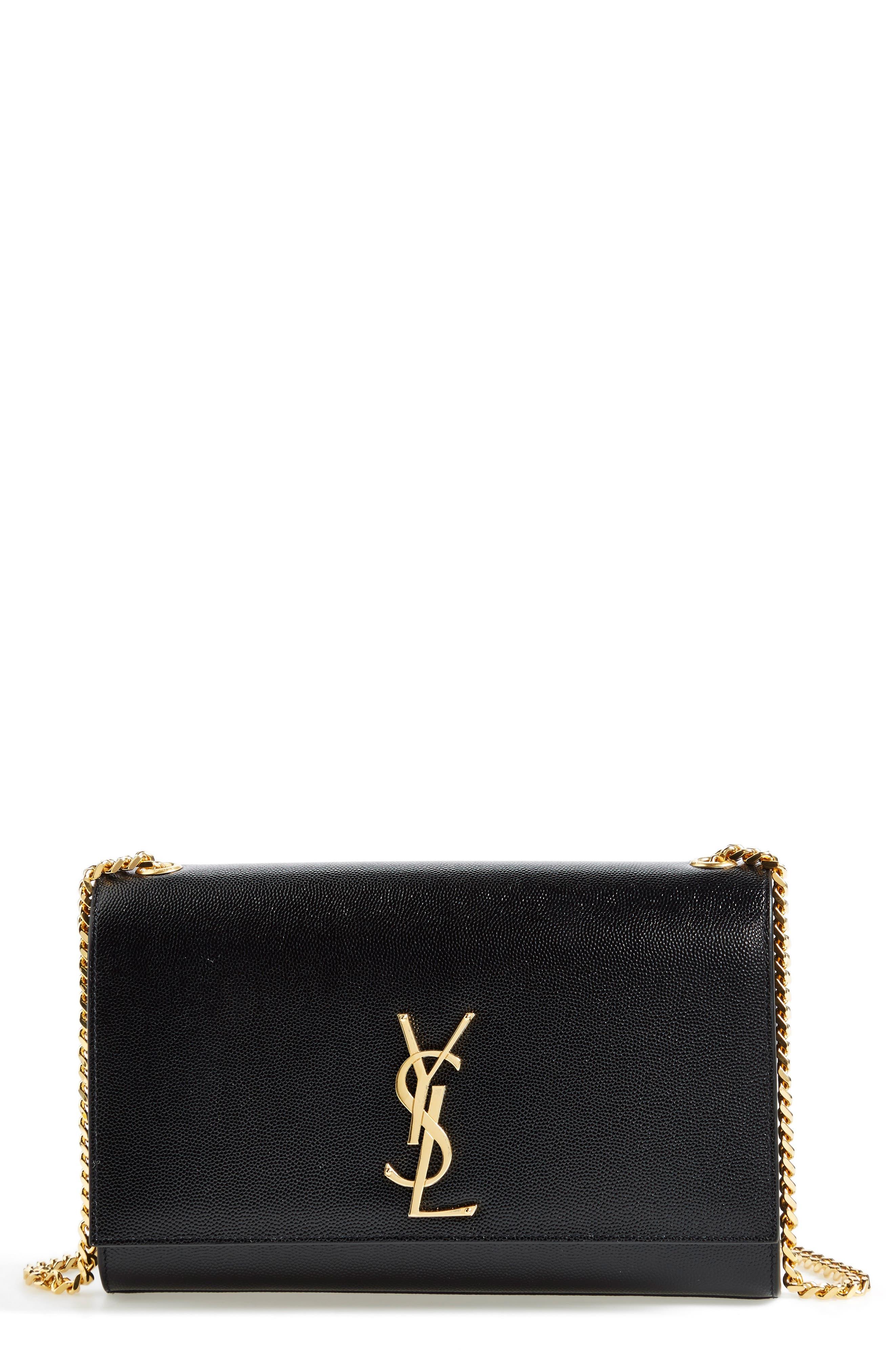 'Medium Kate' Leather Chain Shoulder Bag,                             Alternate thumbnail 2, color,                             NOIR