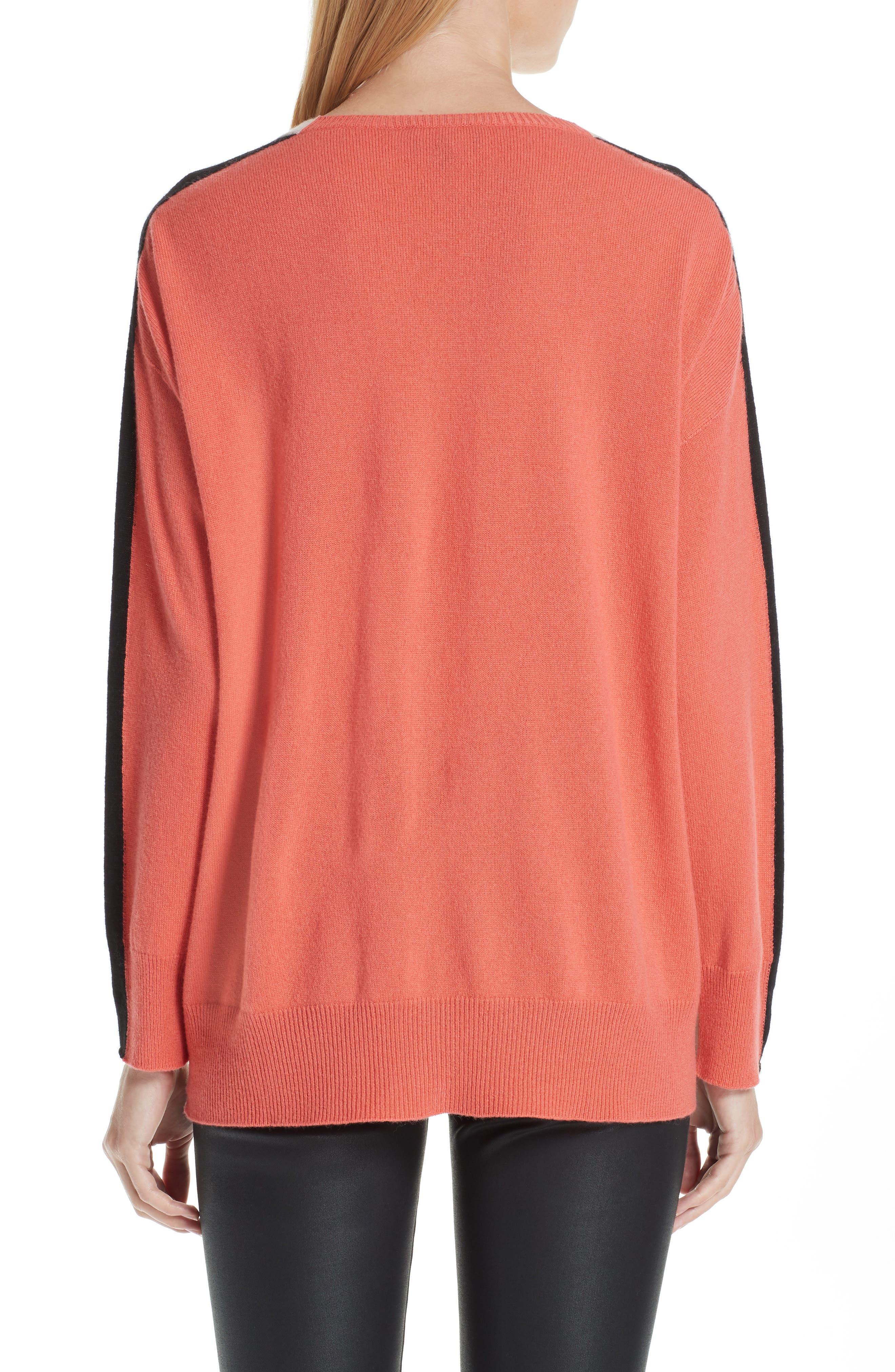 Stripe V-Neck Cashmere Sweater,                             Alternate thumbnail 2, color,                             ROSA NATURALE