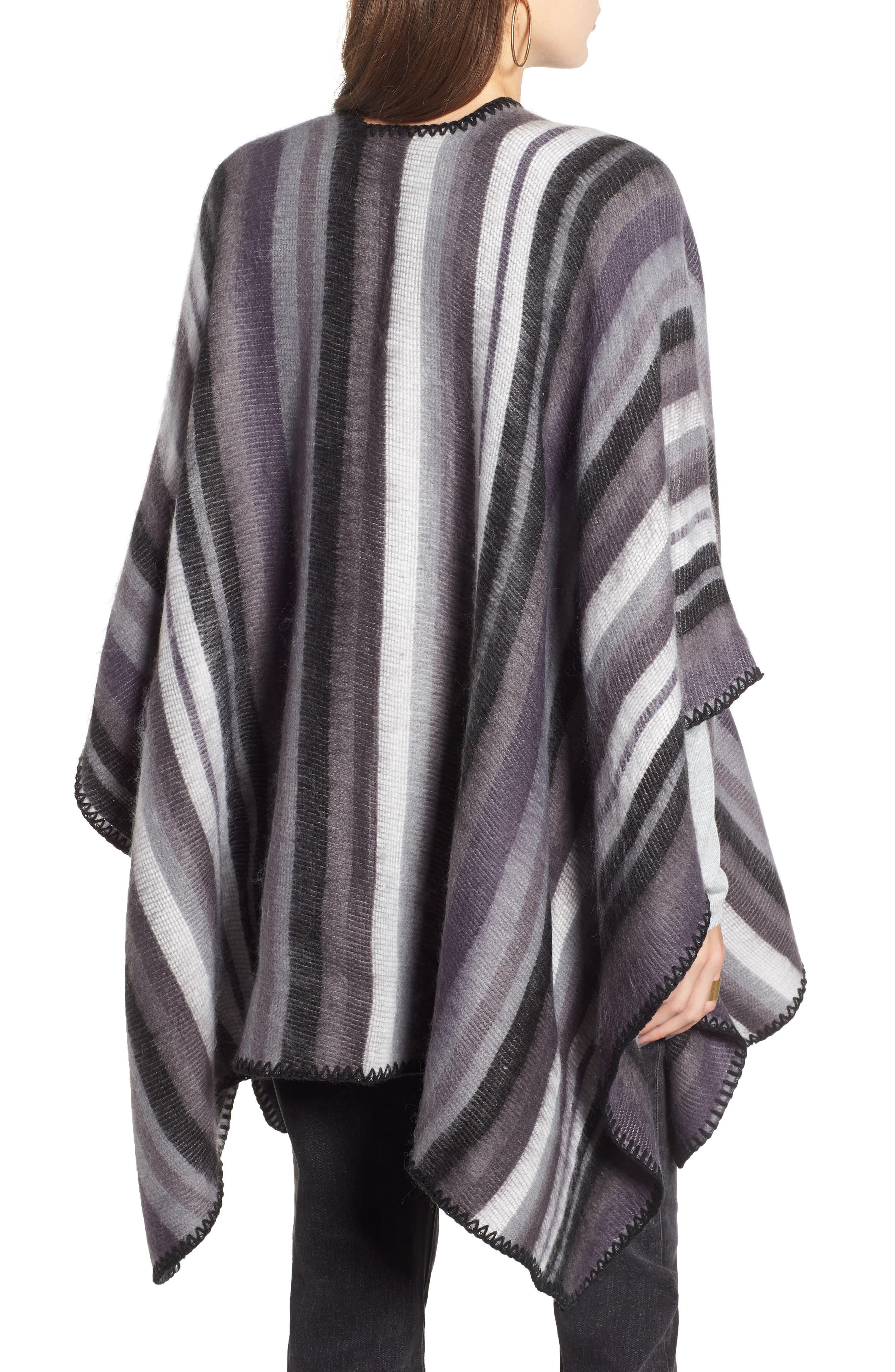 Stripe Blanket Wrap,                             Alternate thumbnail 2, color,                             BLACK COMBO