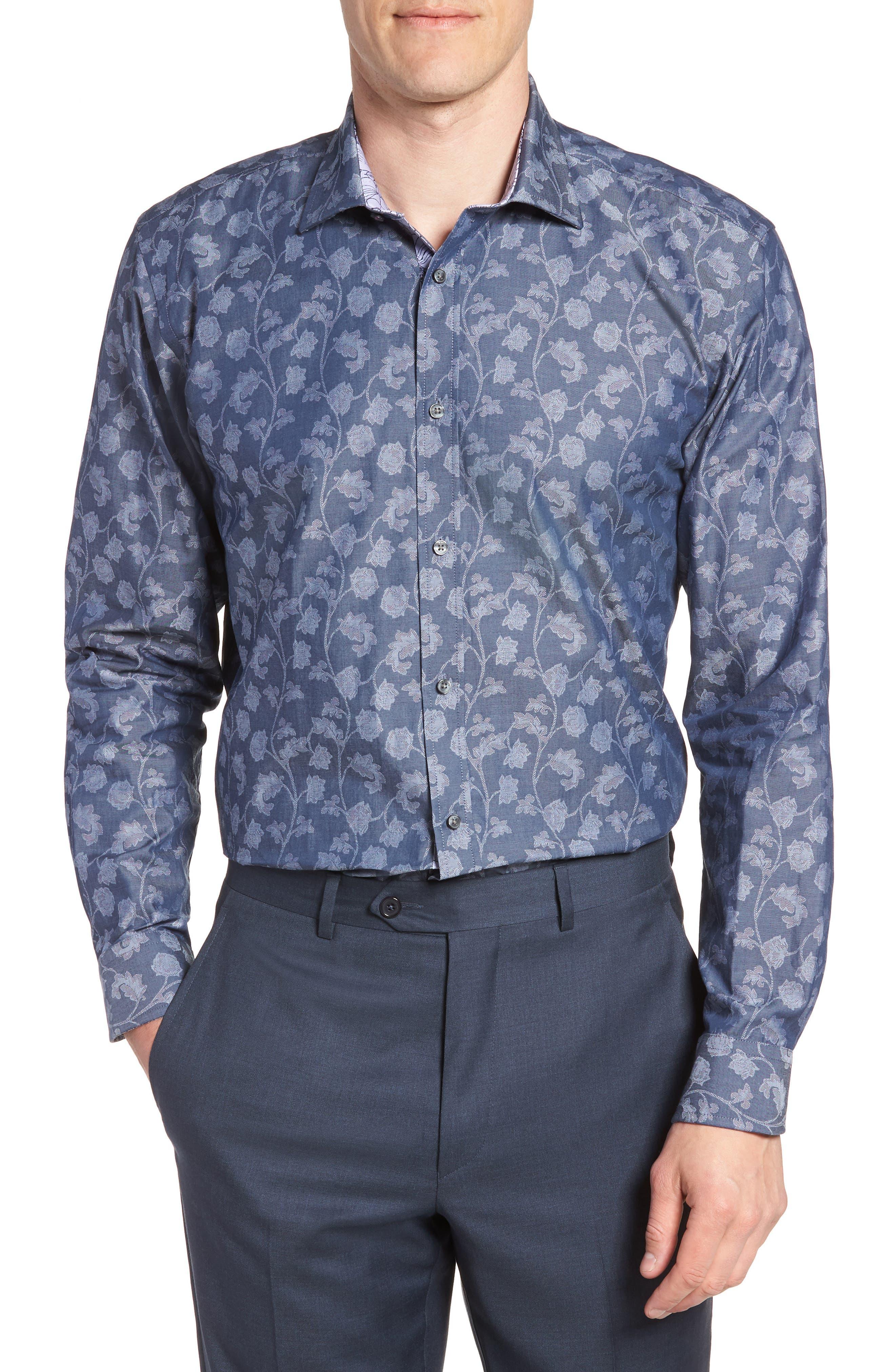 Place Trim Fit Floral Dress Shirt,                             Main thumbnail 1, color,                             NAVY