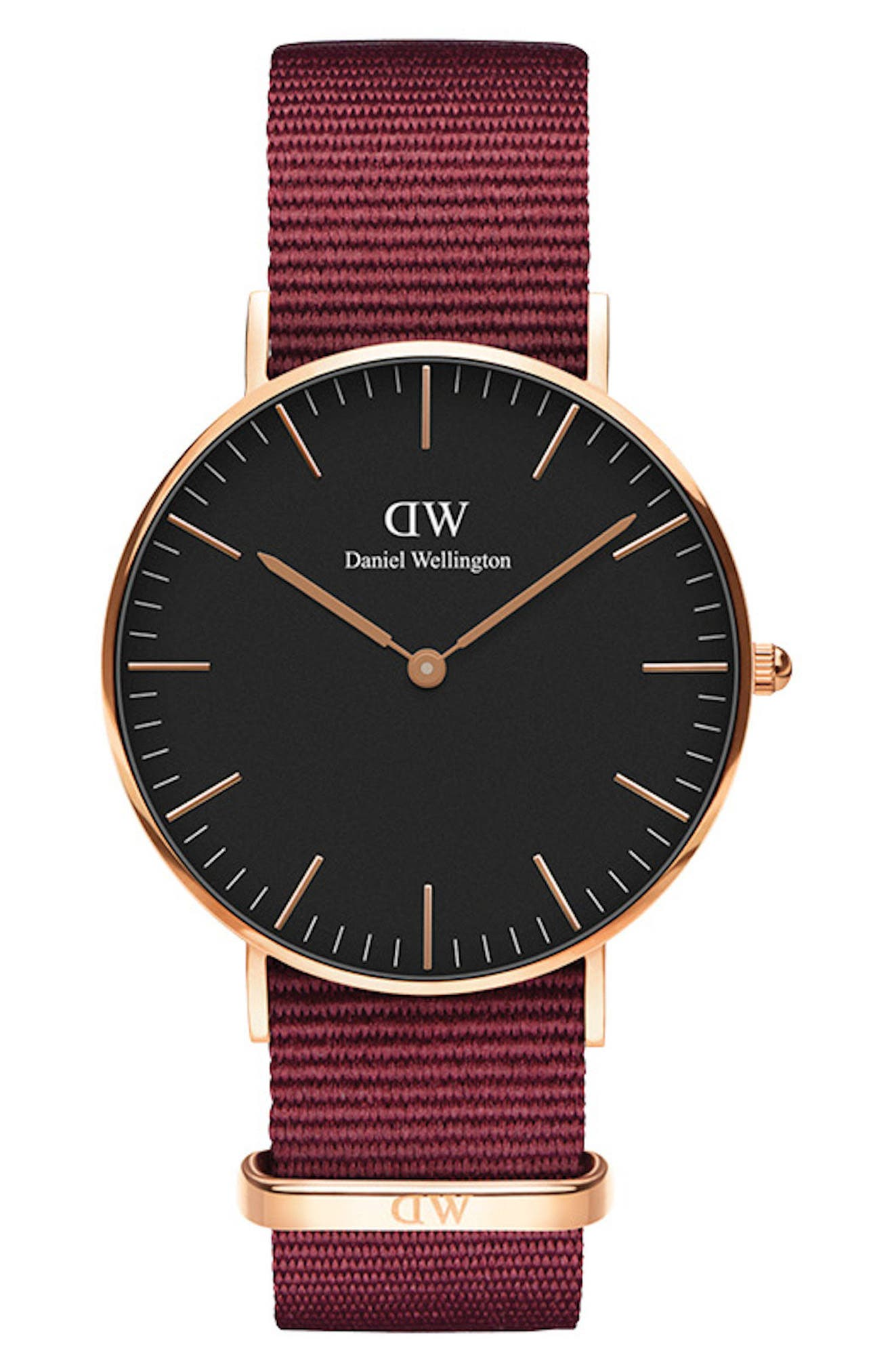 Classic Roselyn Nylon Strap Watch, 36mm, Main, color, RED/ BLACK / ROSE GOLD