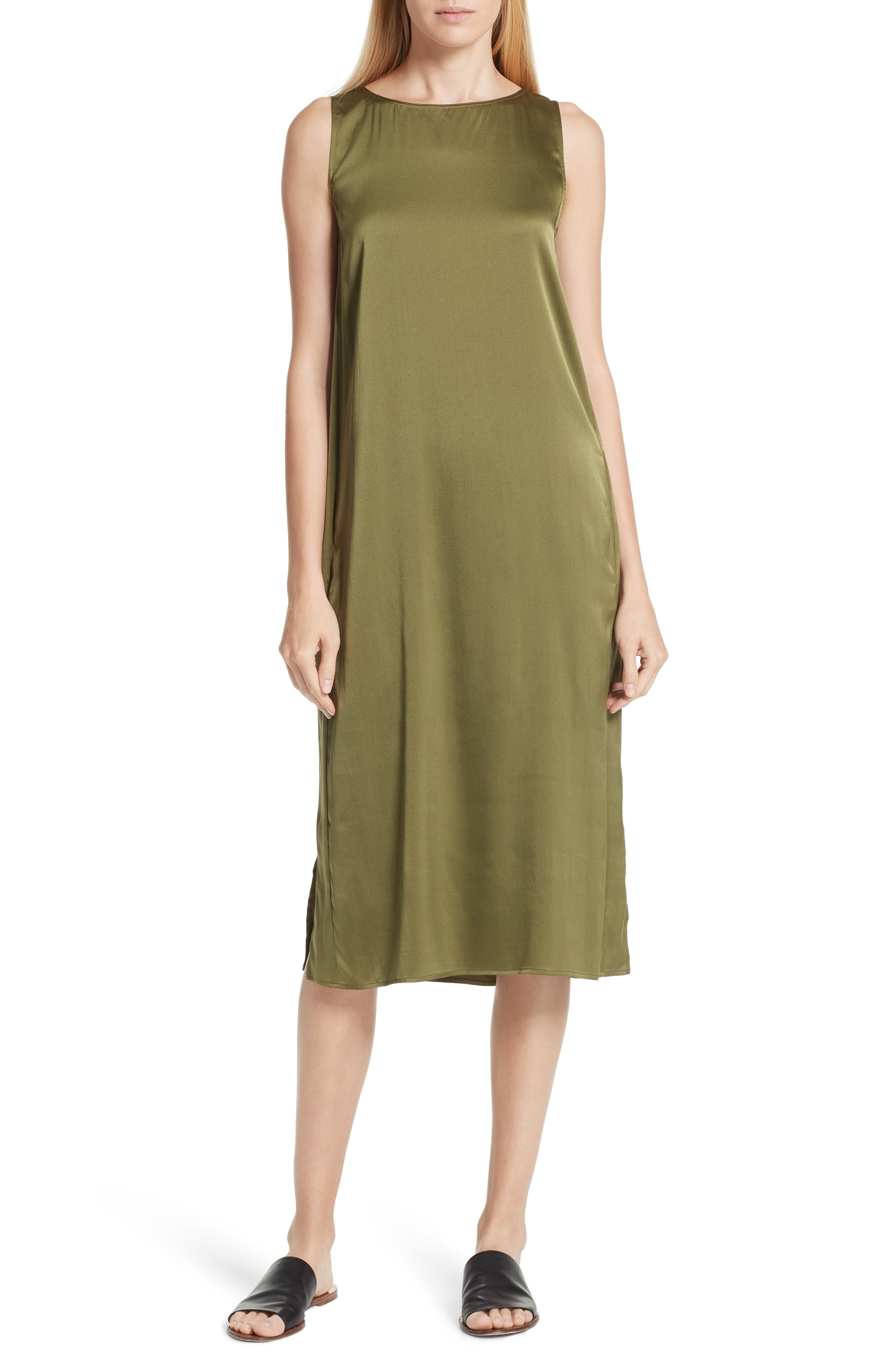 EILEEN FISHER Stretch Silk Tank Dress, Main, color, 301
