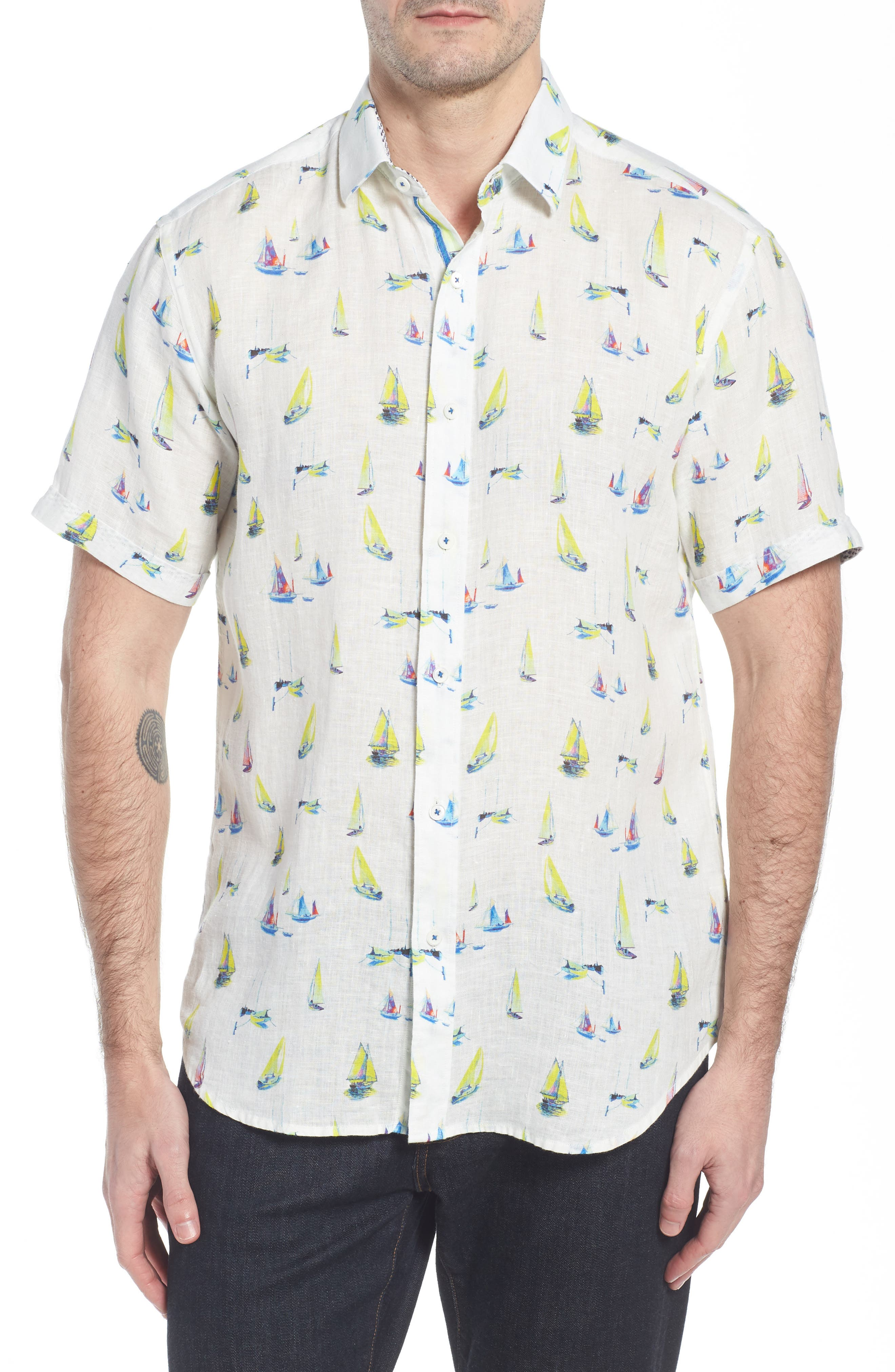 Shaped Fit Sailboat Linen Sport Shirt,                             Main thumbnail 1, color,                             102
