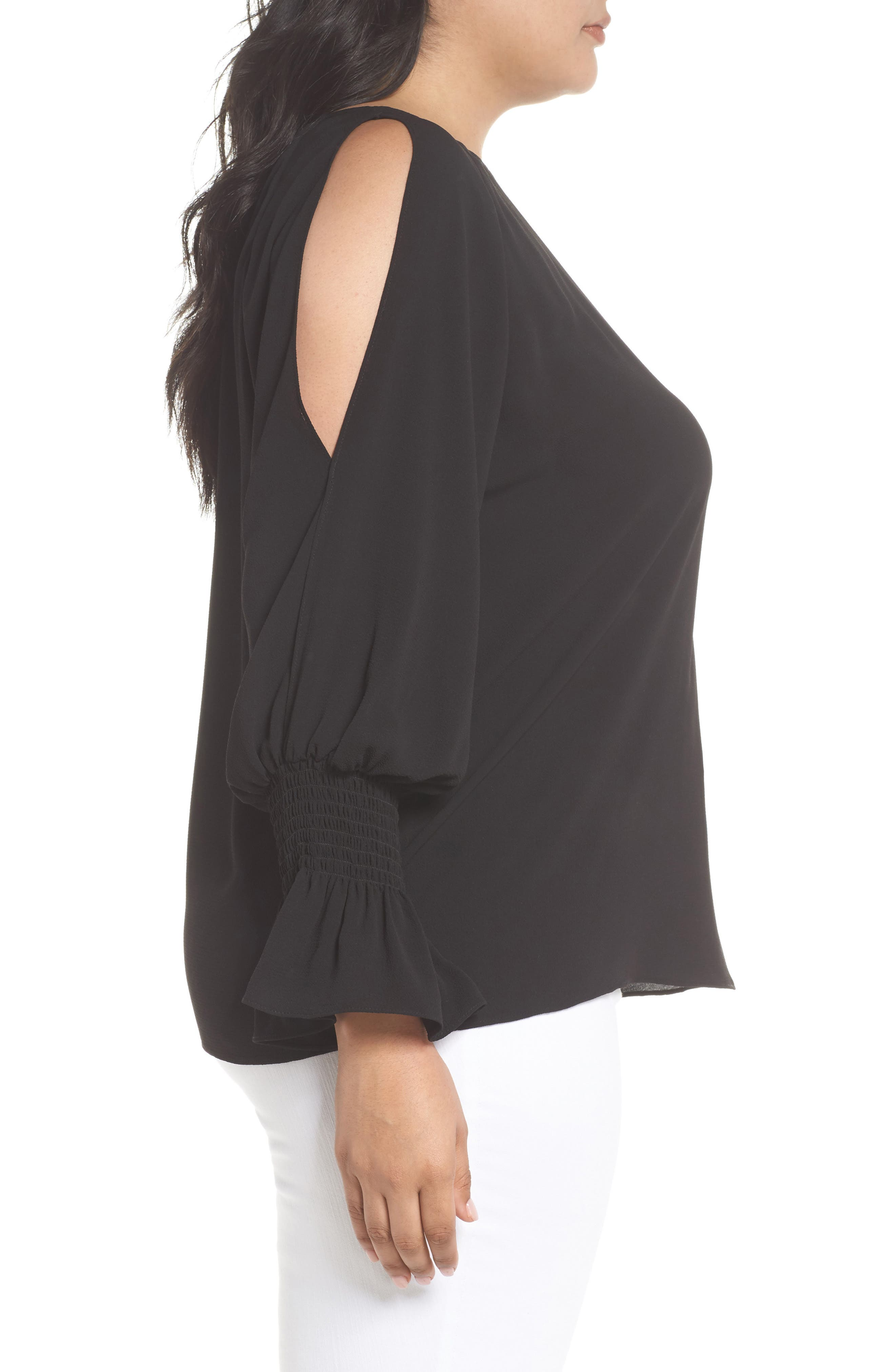 Cold Shoulder Flare Cuff Top,                             Alternate thumbnail 3, color,                             RICH BLACK