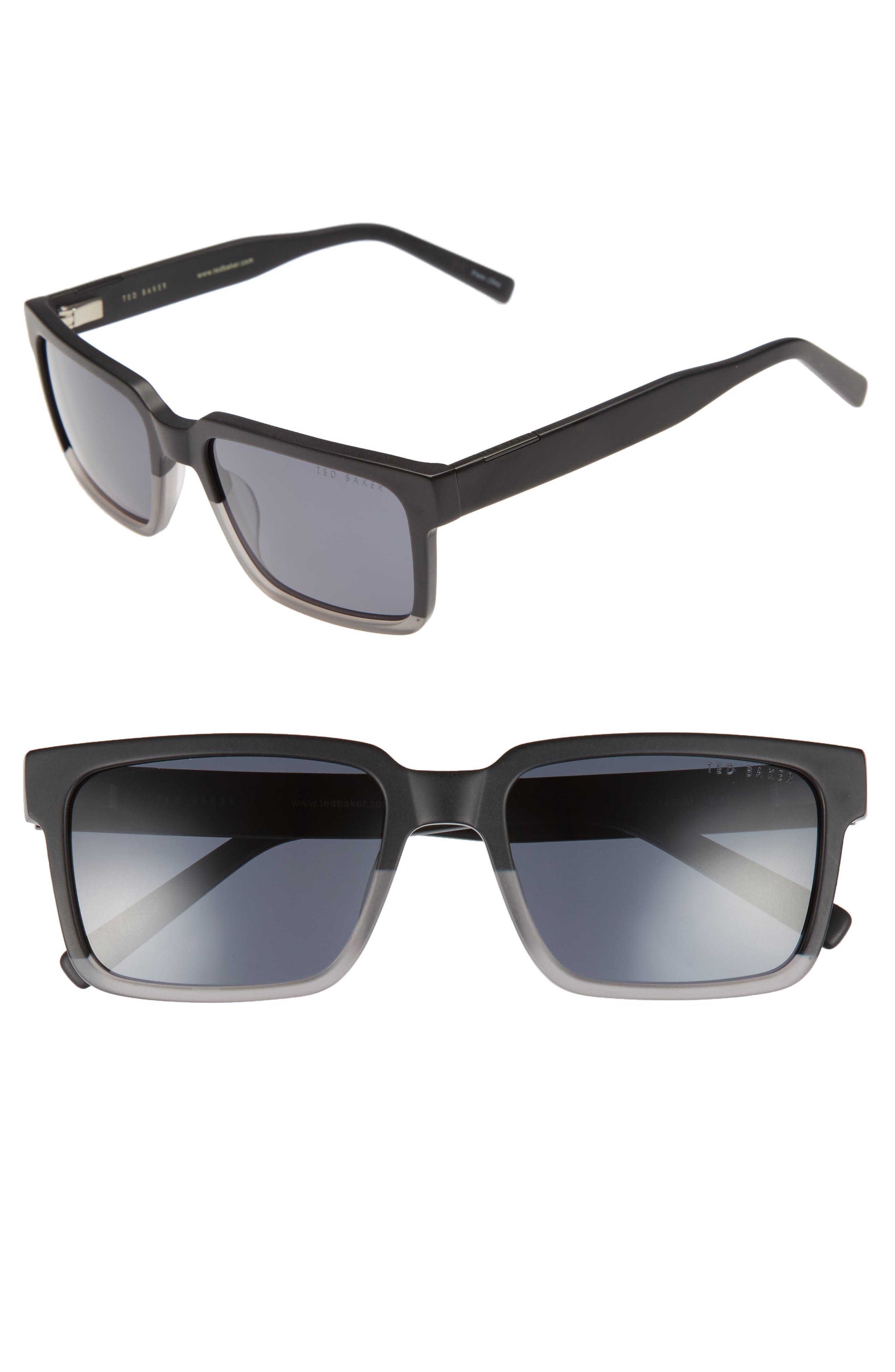 56mm Polarized Rectangular Sunglasses,                             Main thumbnail 1, color,                             001