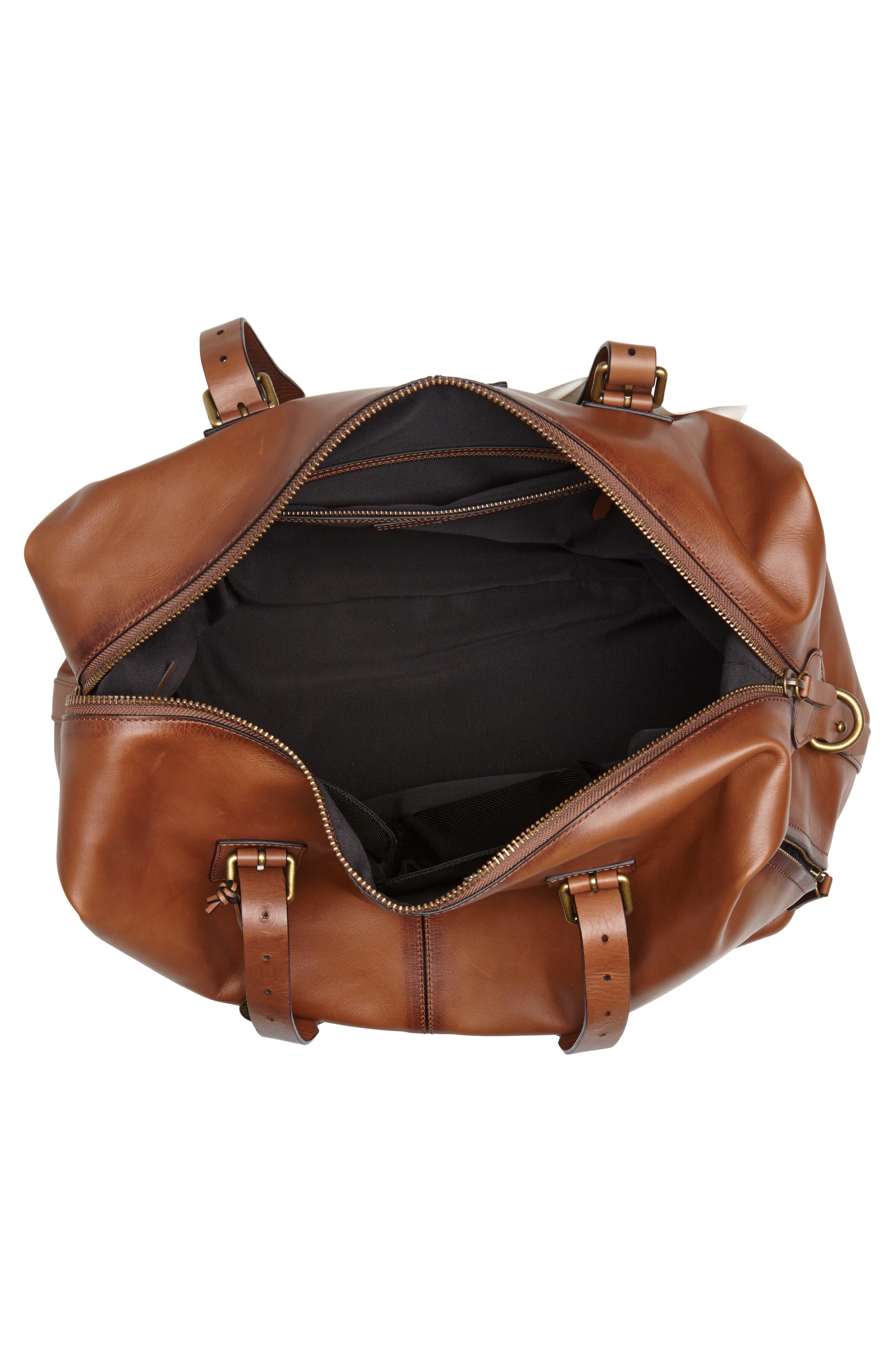 Heritage Leather Duffel Bag,                             Alternate thumbnail 4, color,                             200