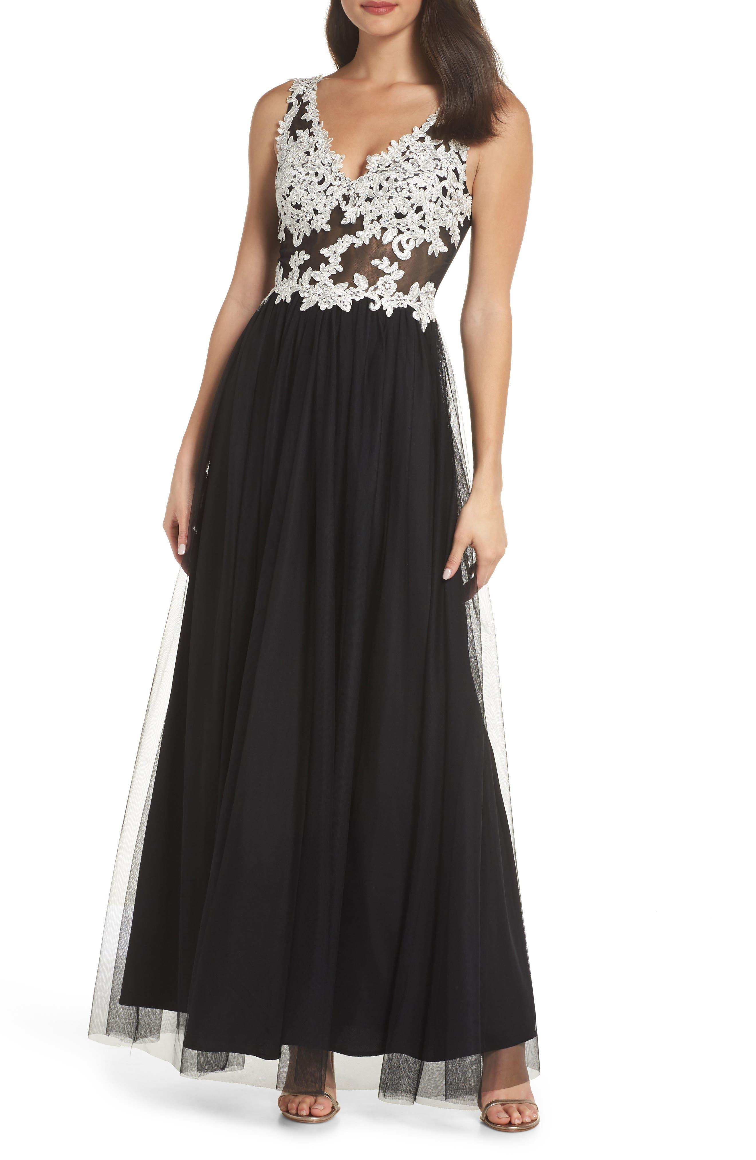 Floral Appliqué V-Neck Gown,                             Main thumbnail 1, color,                             BLACK/ WHITE