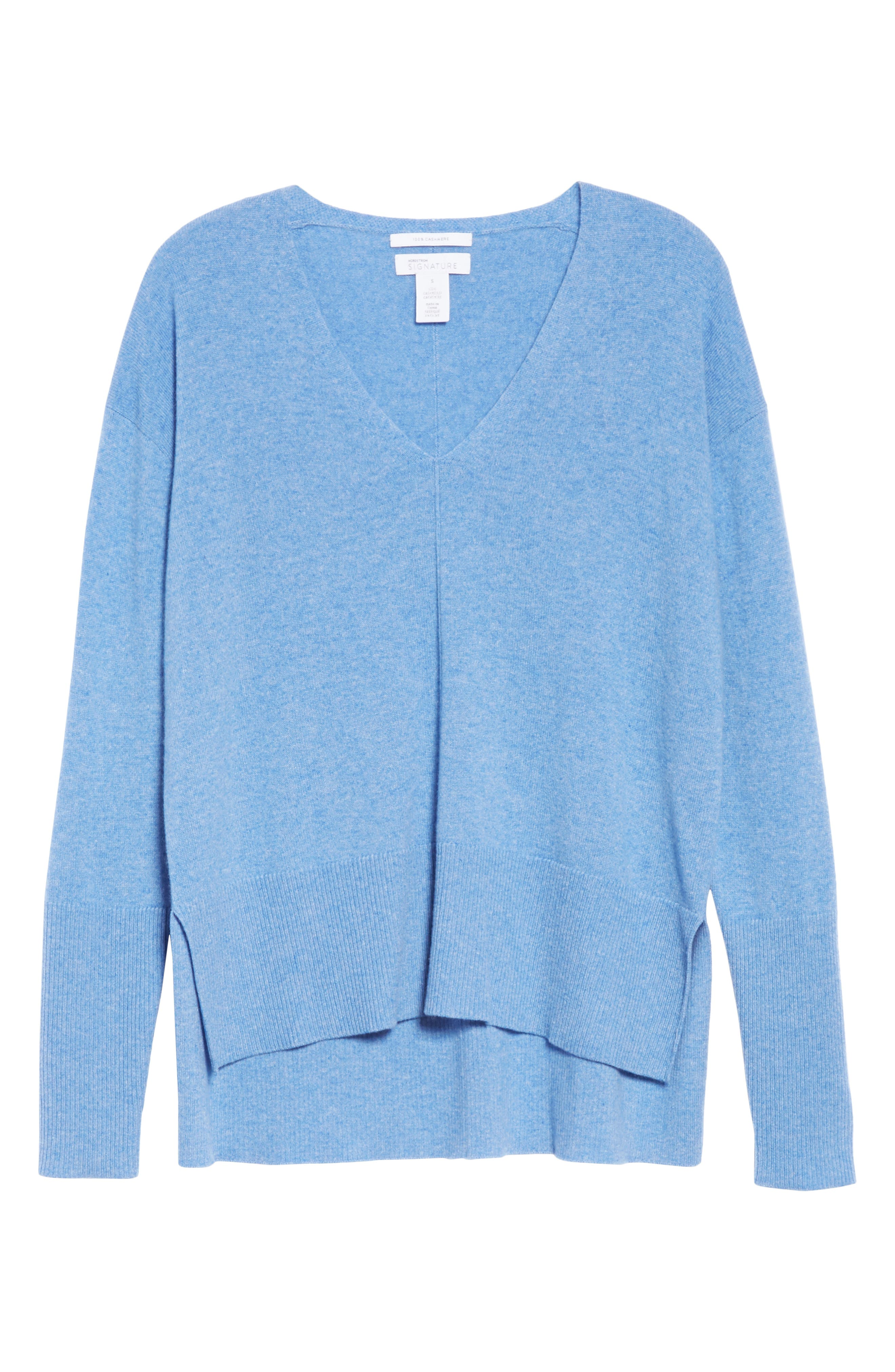 V-Neck High/Low Cashmere Sweater,                             Alternate thumbnail 6, color,                             BLUE PROVENCE HEATHER