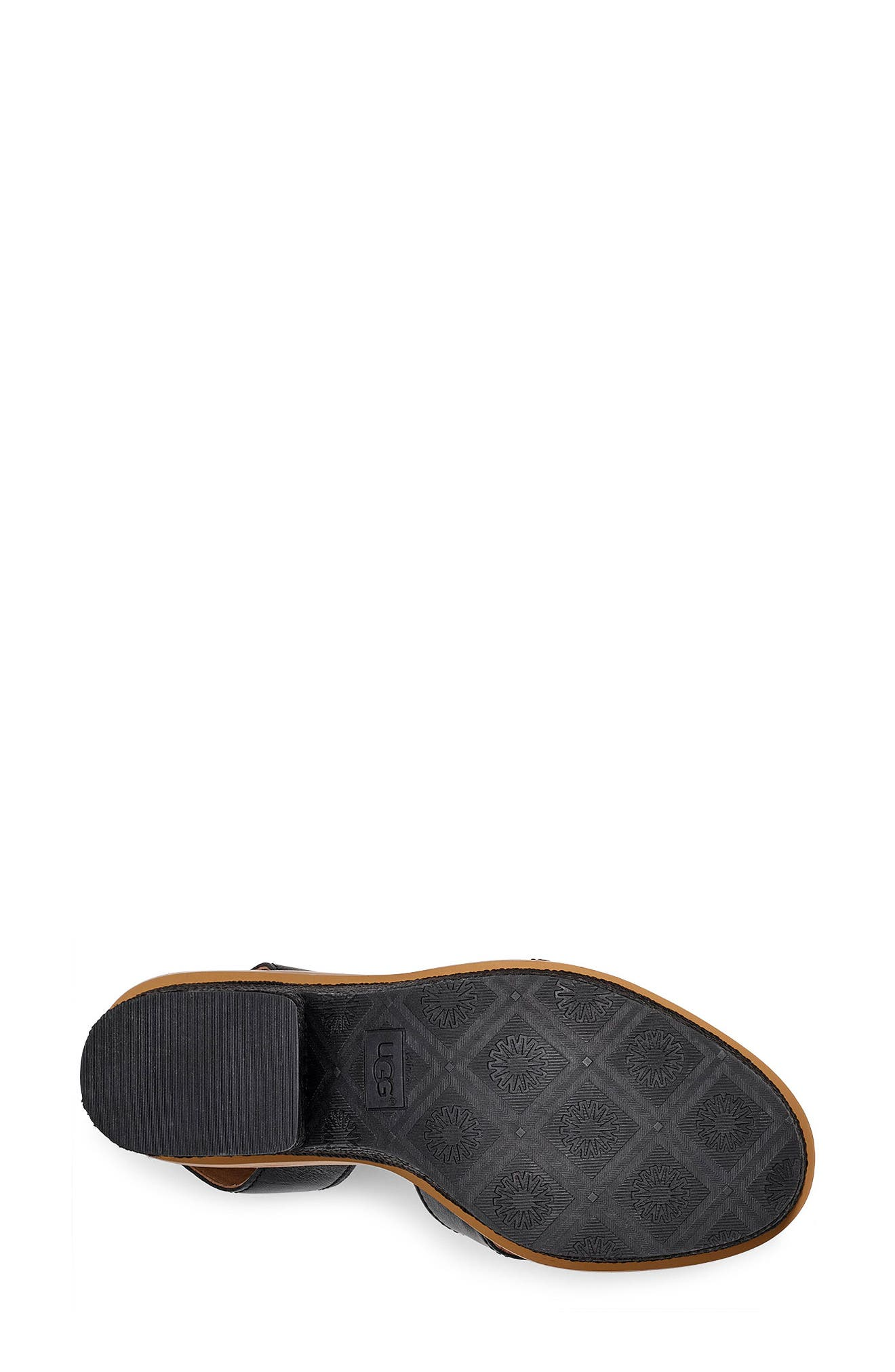 Carine Platform Sandal,                             Alternate thumbnail 5, color,                             BLACK LEATHER