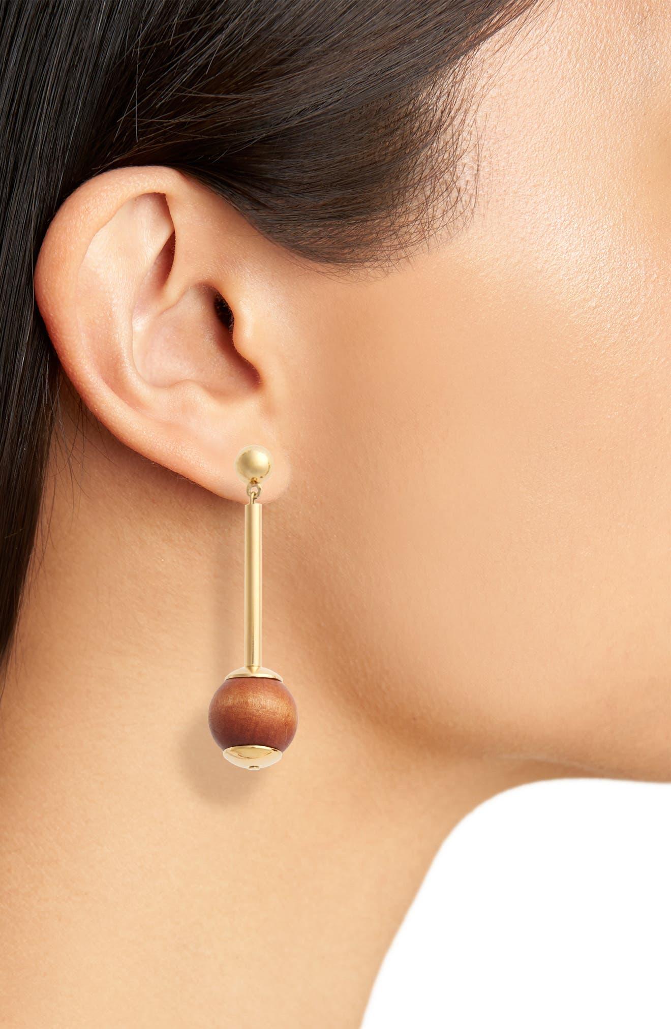 Pendulum Earrings,                             Alternate thumbnail 2, color,                             WOOD
