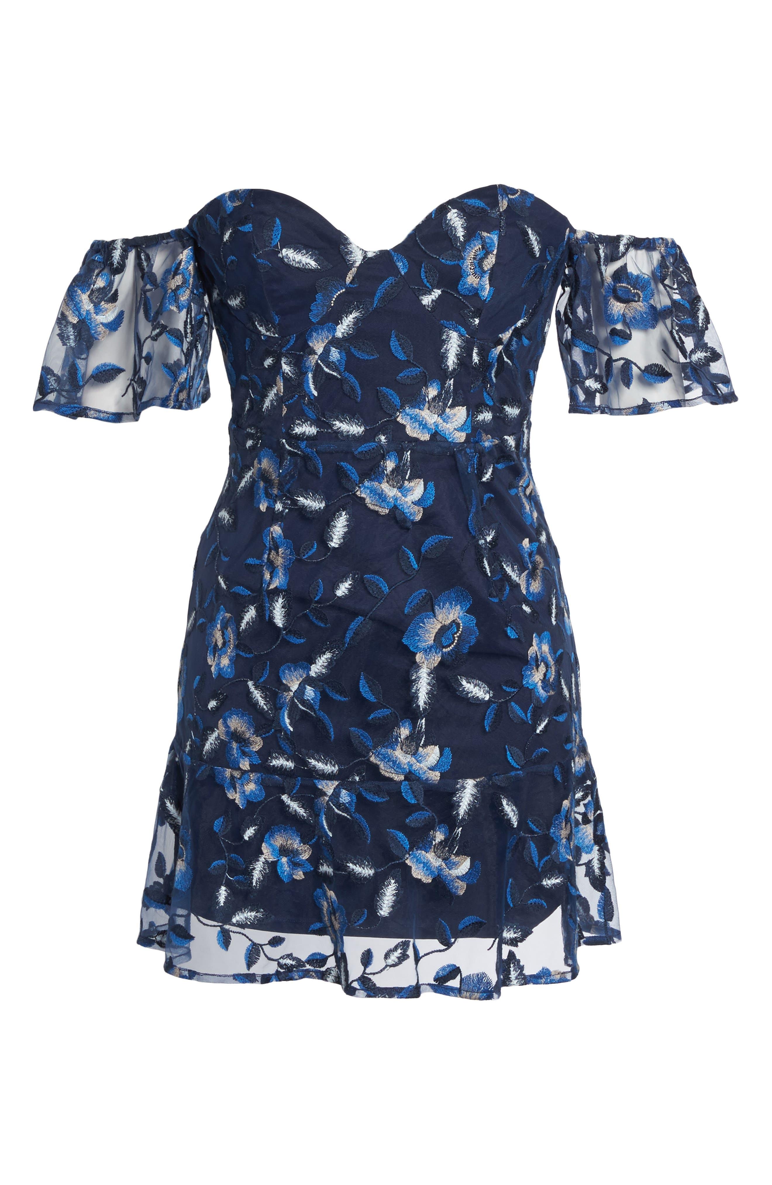 Sapphire Lace Off the Shoulder Dress,                             Alternate thumbnail 6, color,                             471