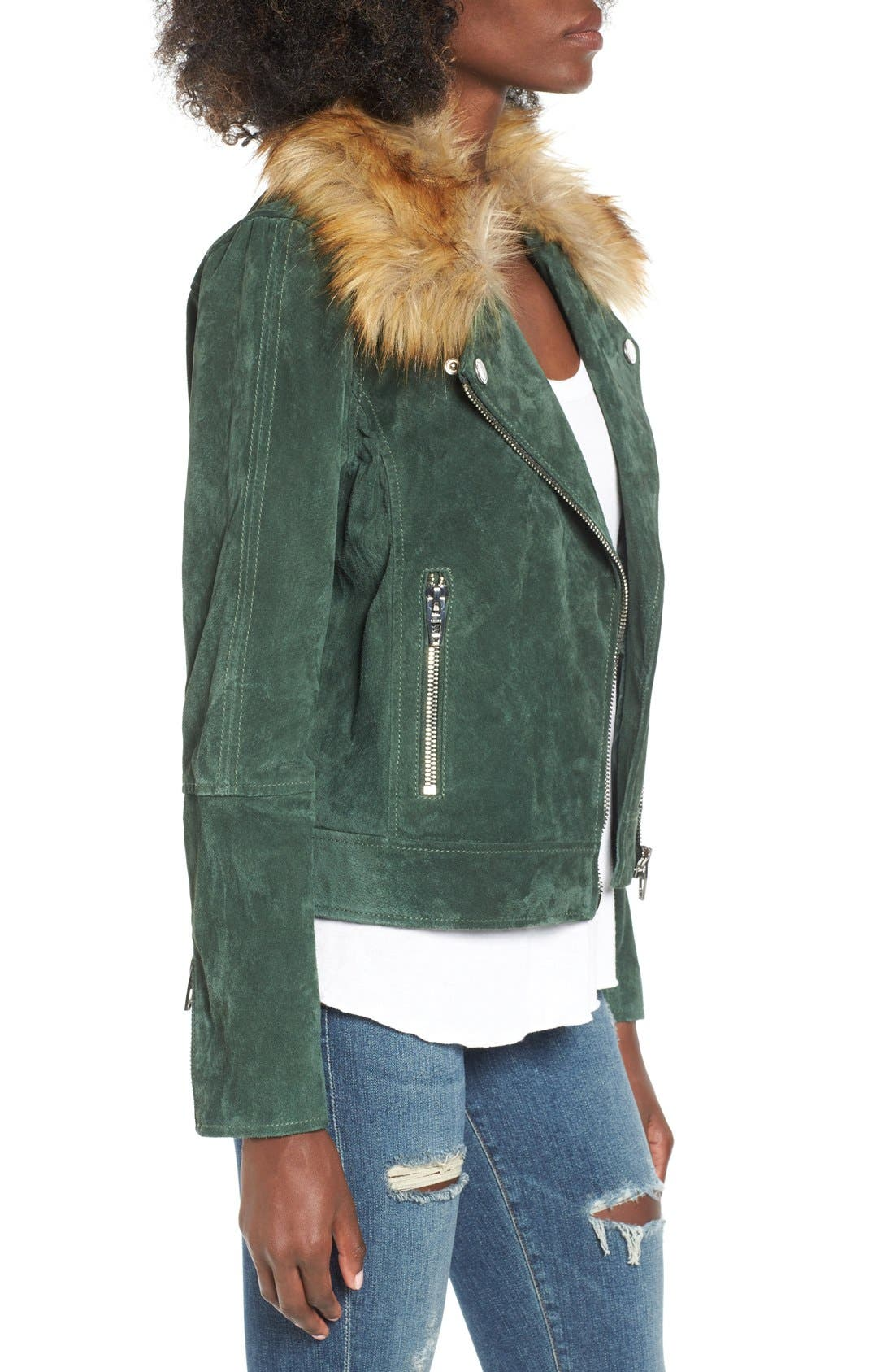 Suede Moto Jacket with Detachable Faux Fur Collar,                             Alternate thumbnail 3, color,                             316