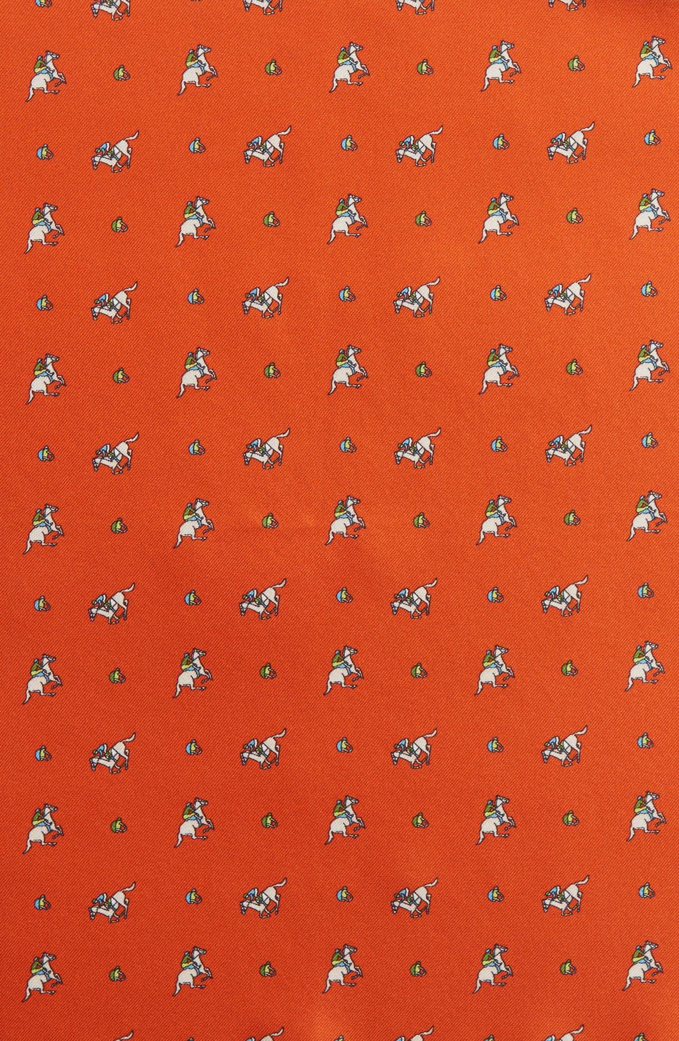 Riding Derby Silk Pocket Square,                             Alternate thumbnail 3, color,                             ORANGE