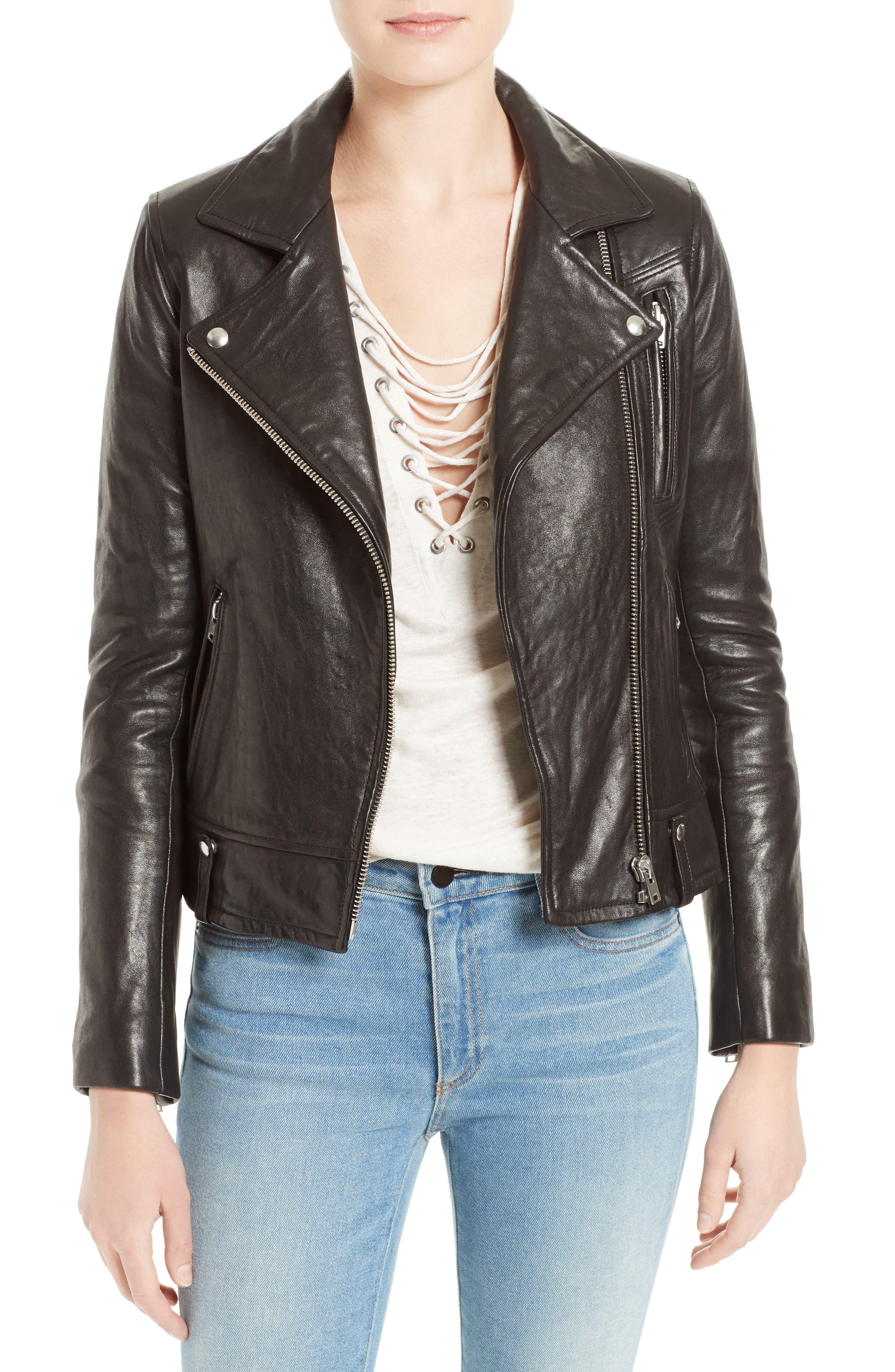 Jamie Leather Moto Jacket,                             Main thumbnail 1, color,                             001