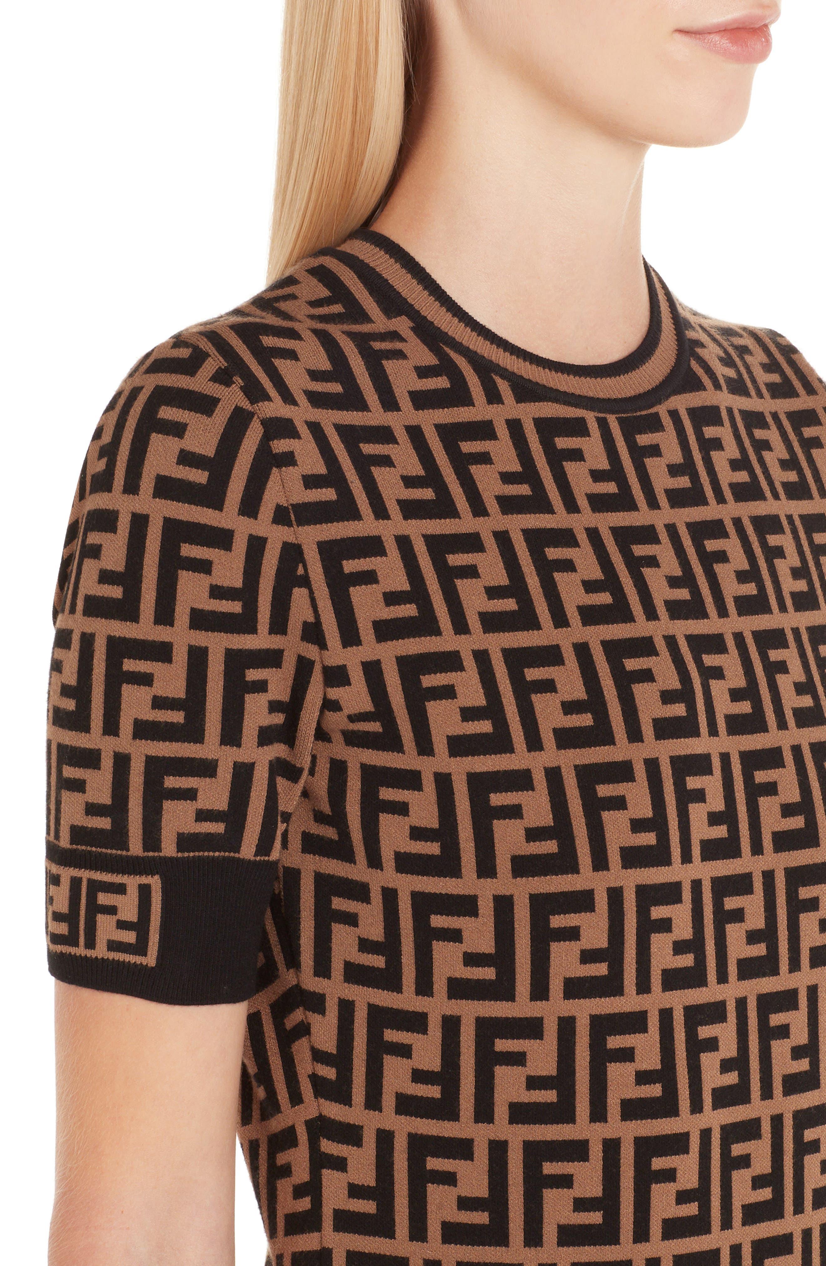 FF Logo Knit Dress,                             Alternate thumbnail 4, color,                             230