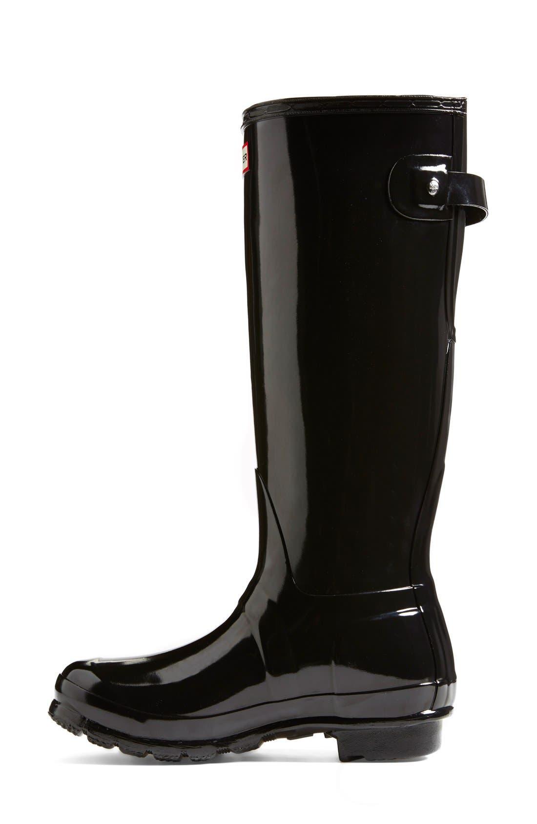 Adjustable Back Gloss Waterproof Rain Boot,                             Alternate thumbnail 6, color,                             BLACK