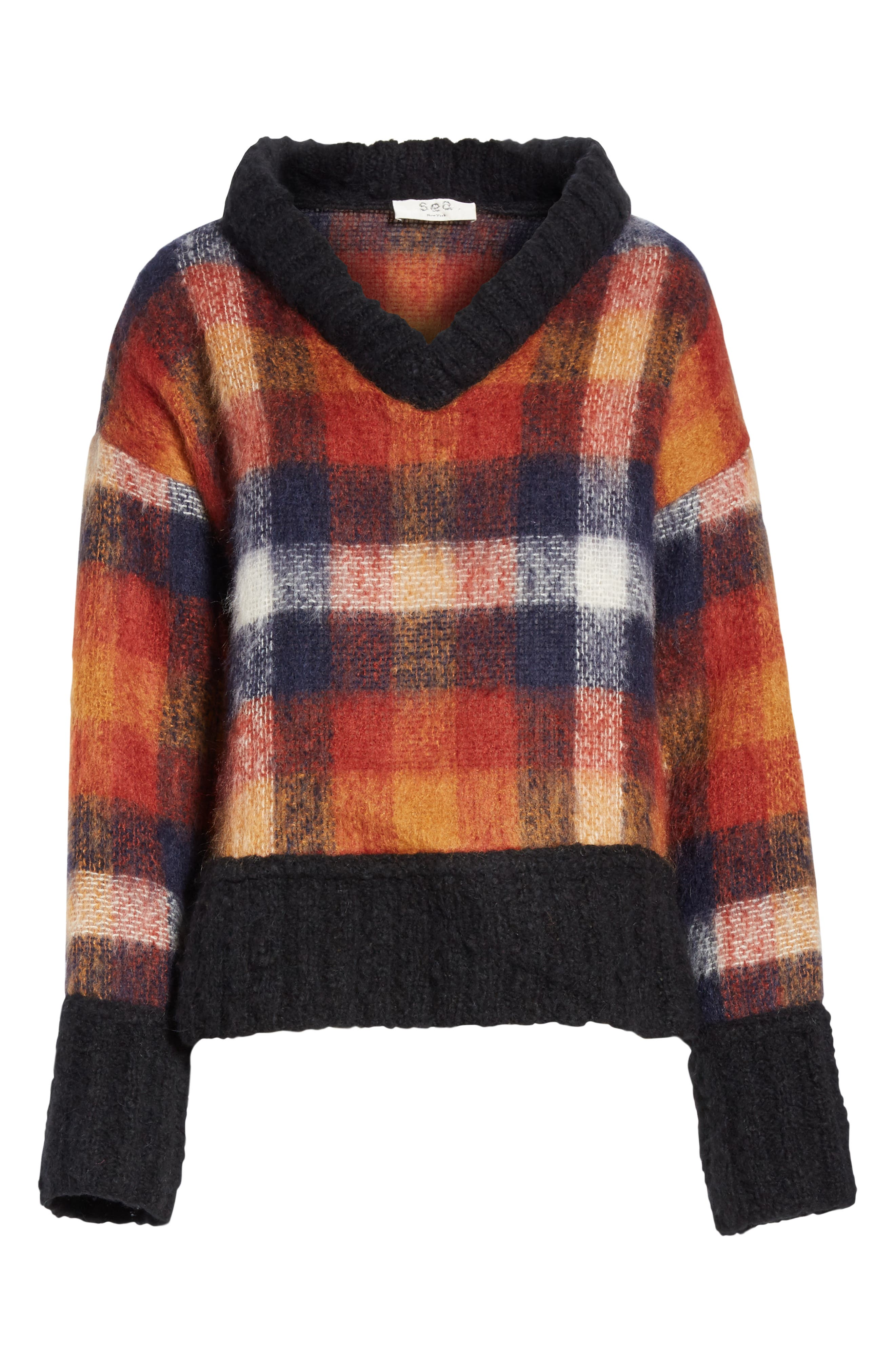 Maryam Mohair & Wool Blend Sweater,                             Alternate thumbnail 6, color,                             PLAID MULTI